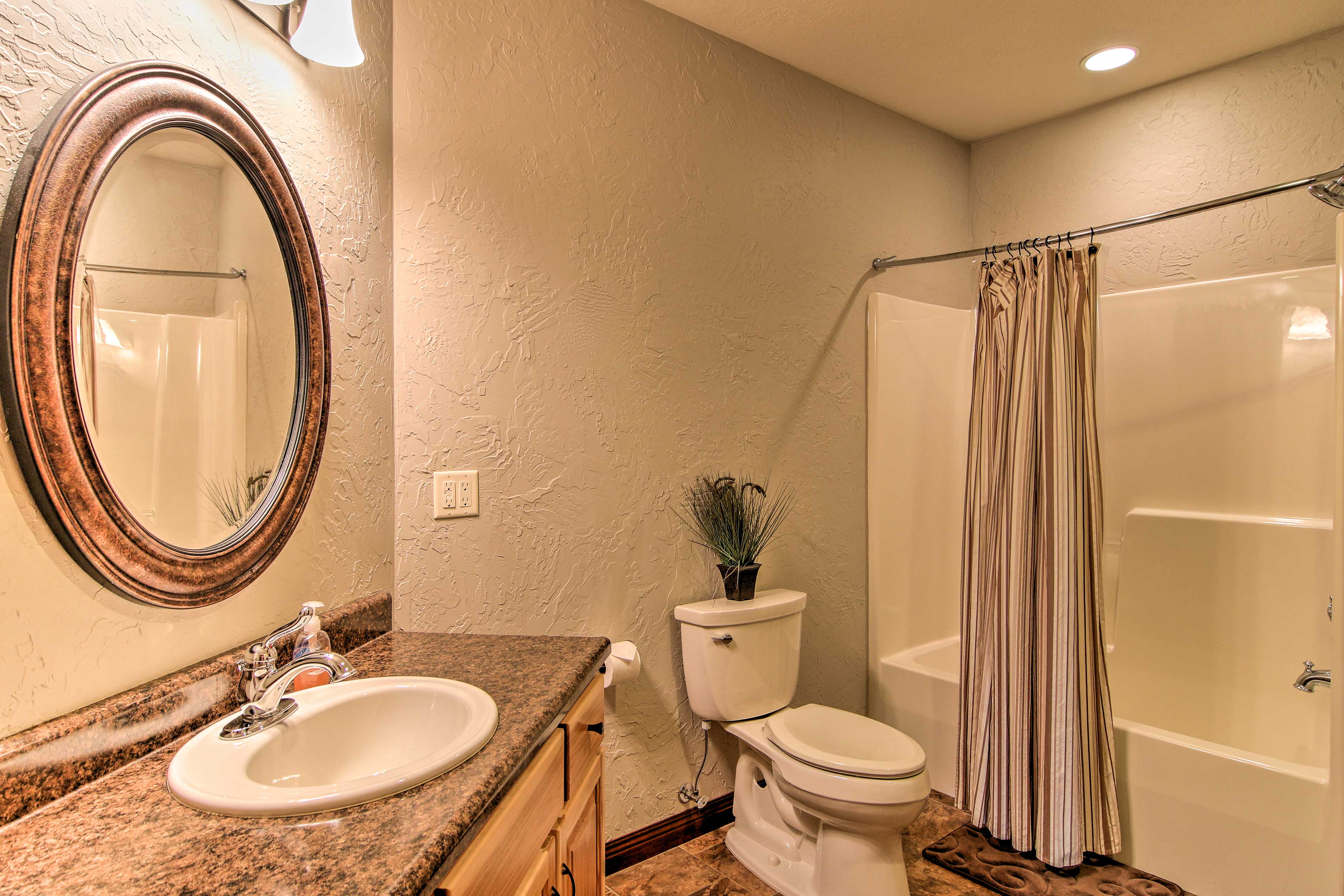 You'll also find a full bathroom in the lower level.