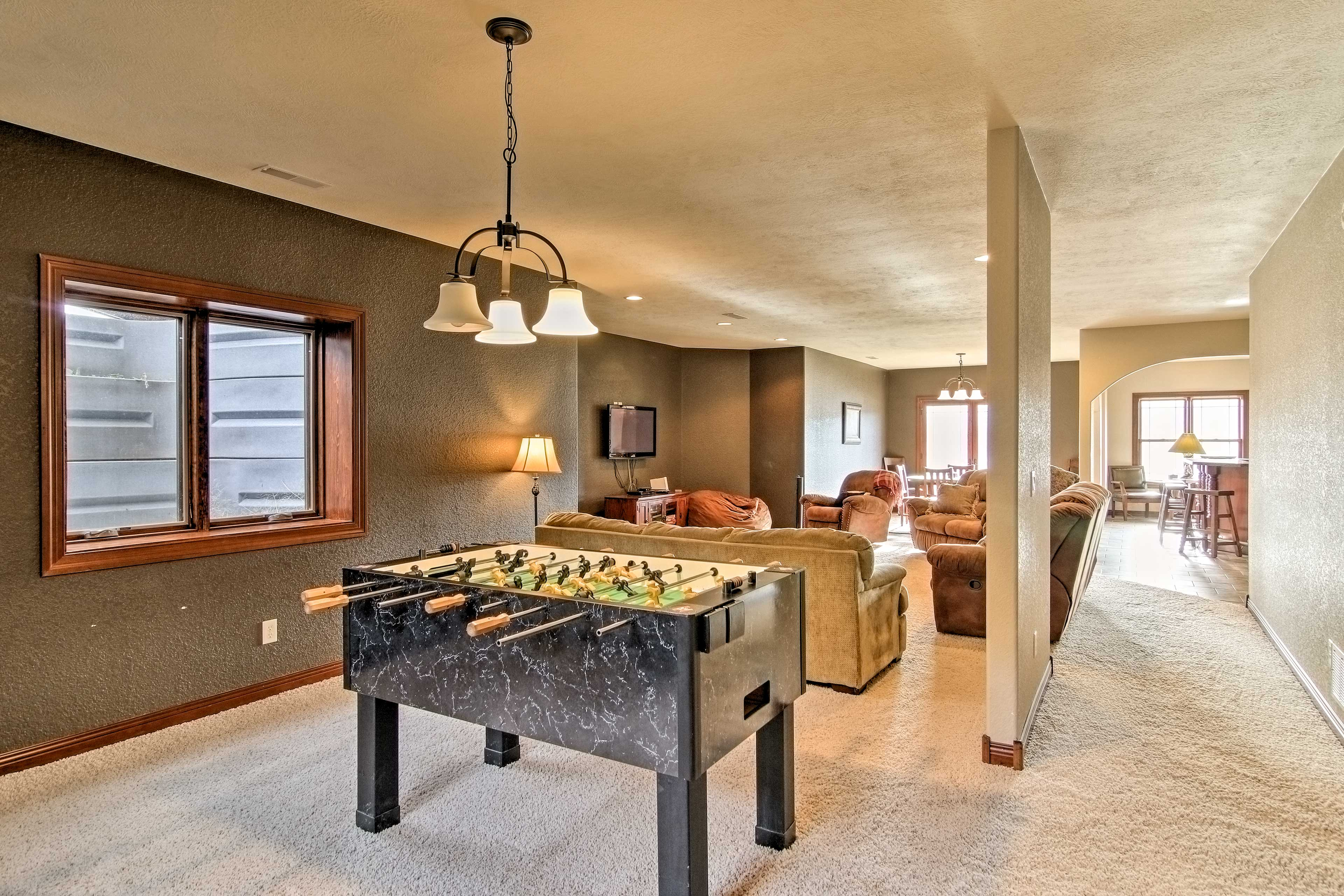 Enjoy a game of foosball or cards!