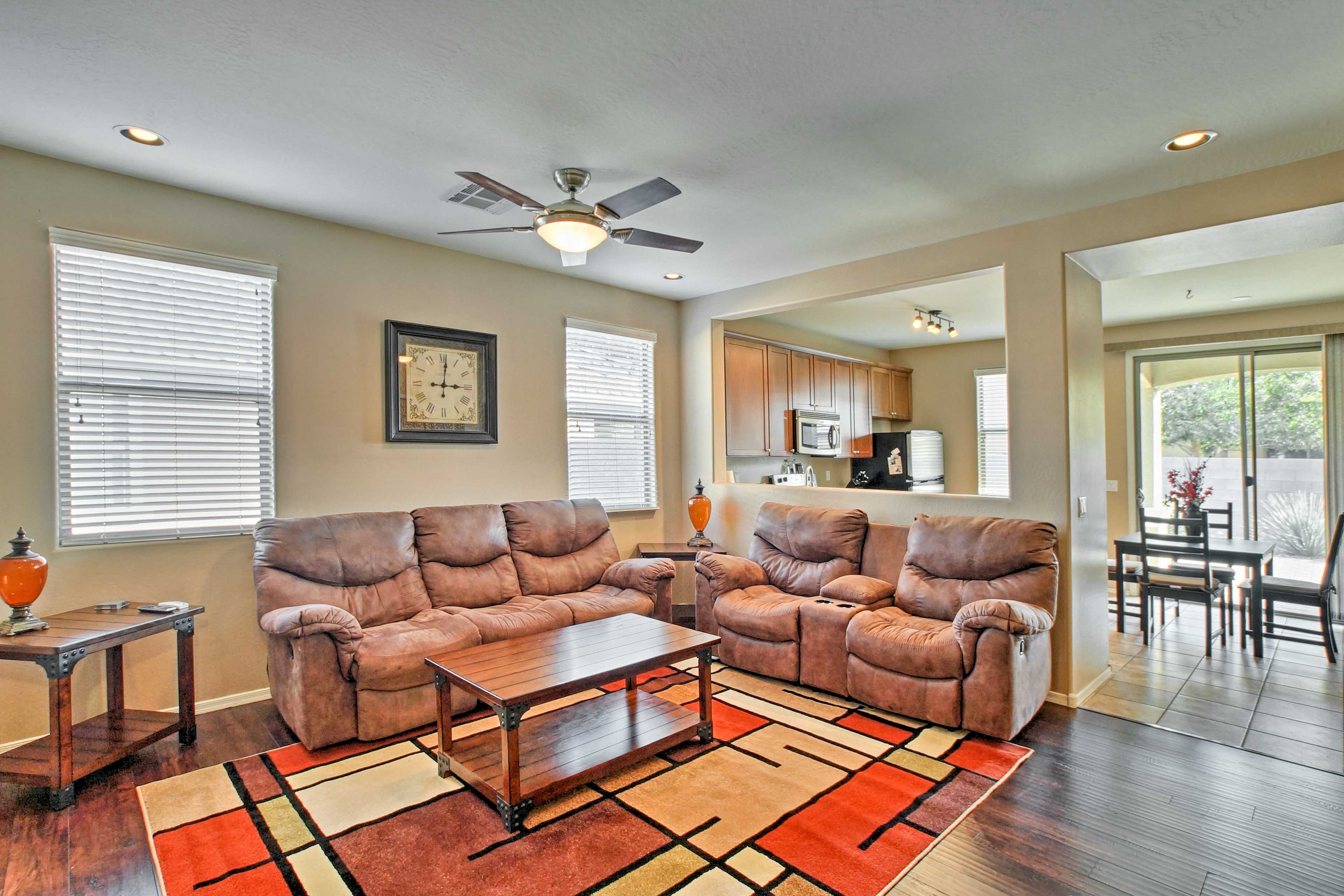 The interior is well-appointed and decorated with comfort in mind.