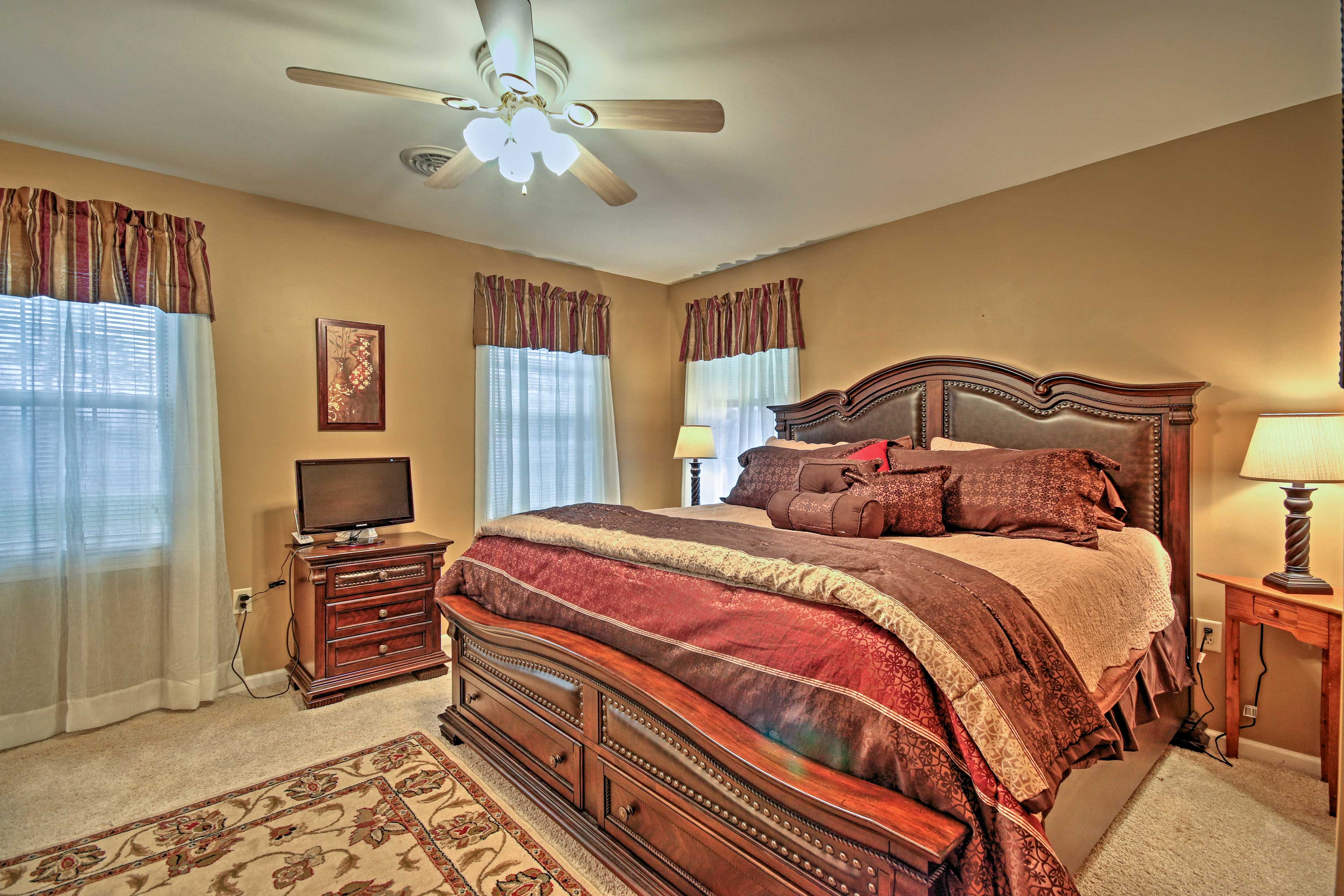 Come nighttime, cuddle up in the master bedroom's king bed.