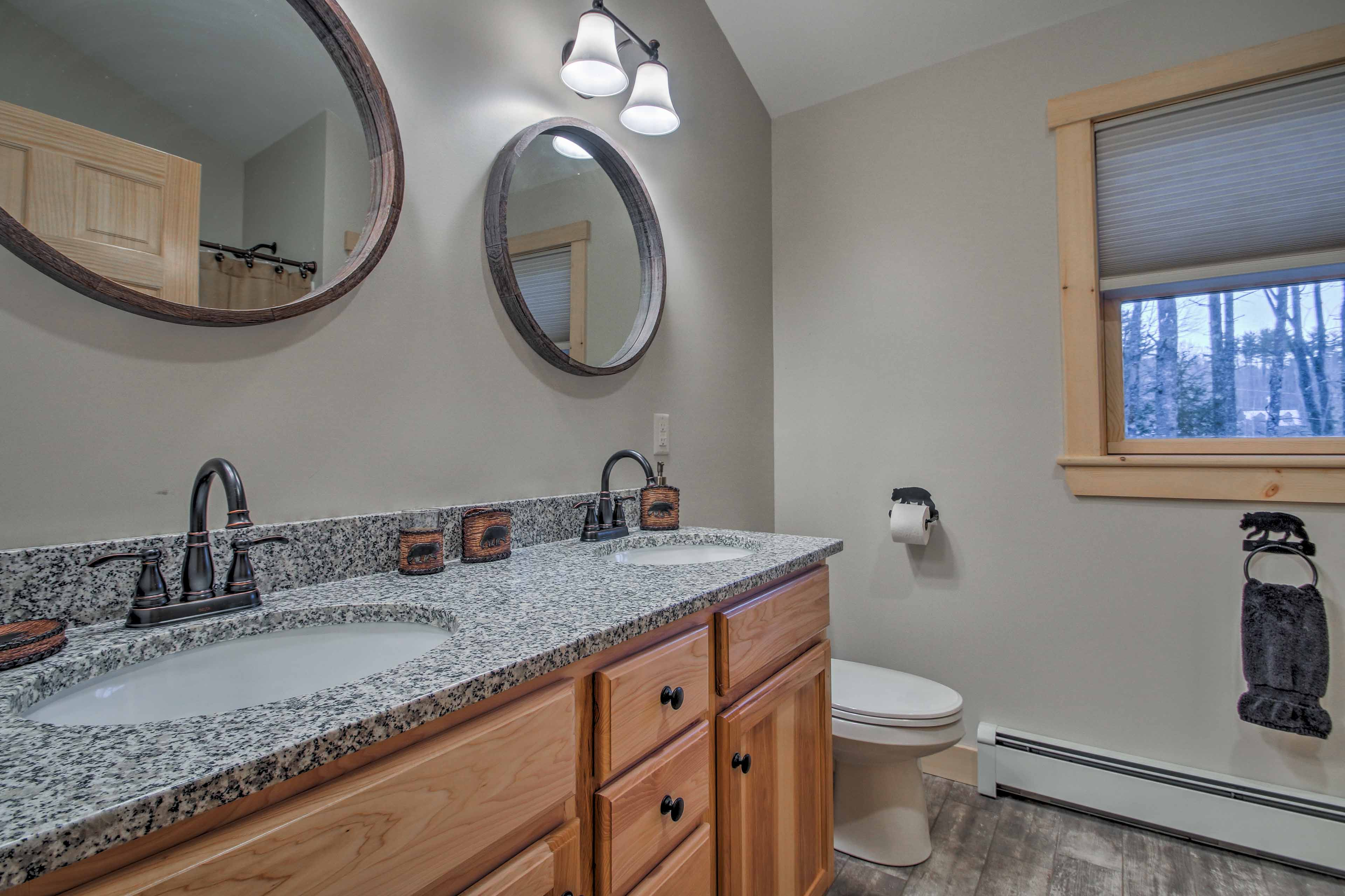 Prep for the day with ease at this double-sink vanity.