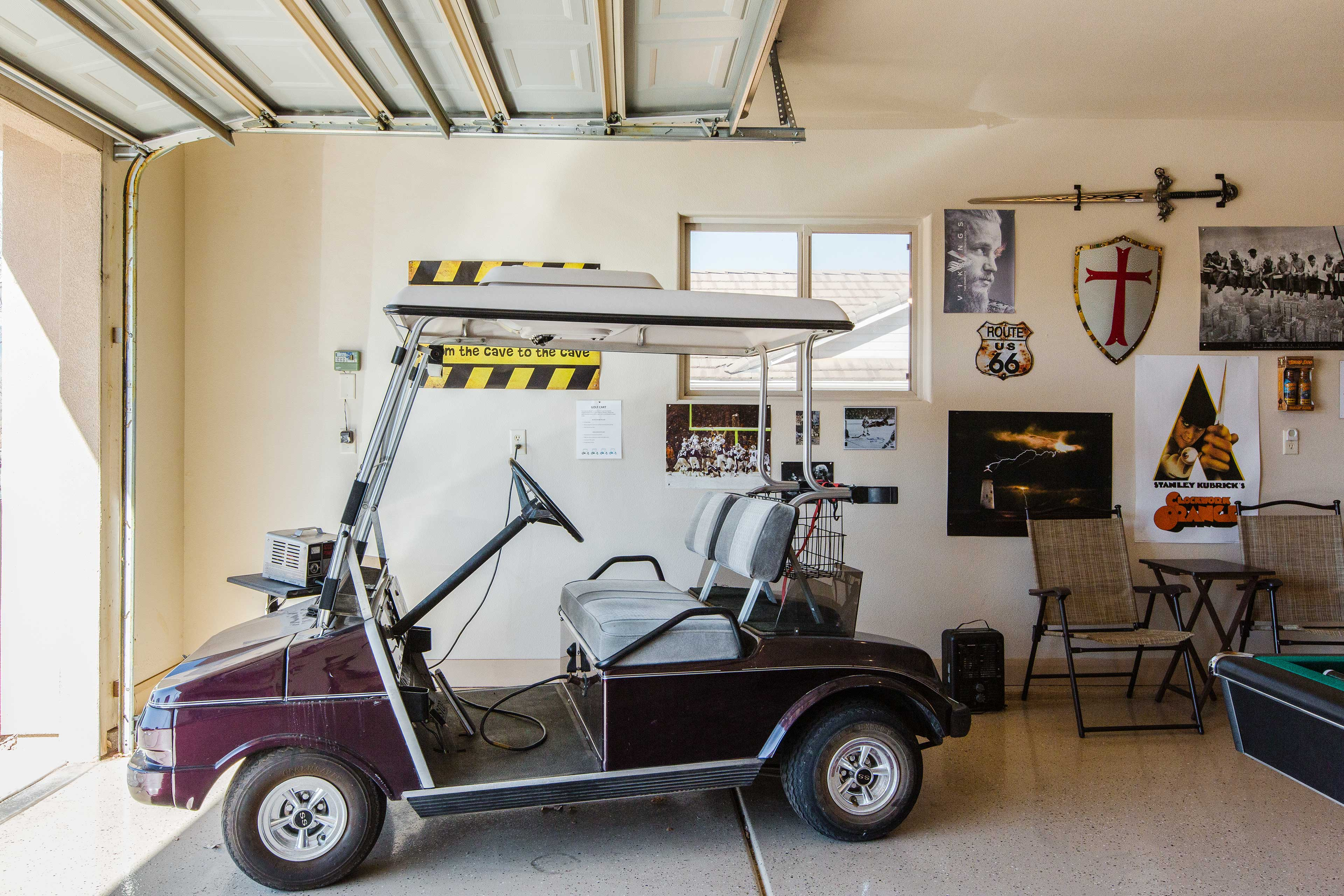 The golf cart allows you to come and go with ease.