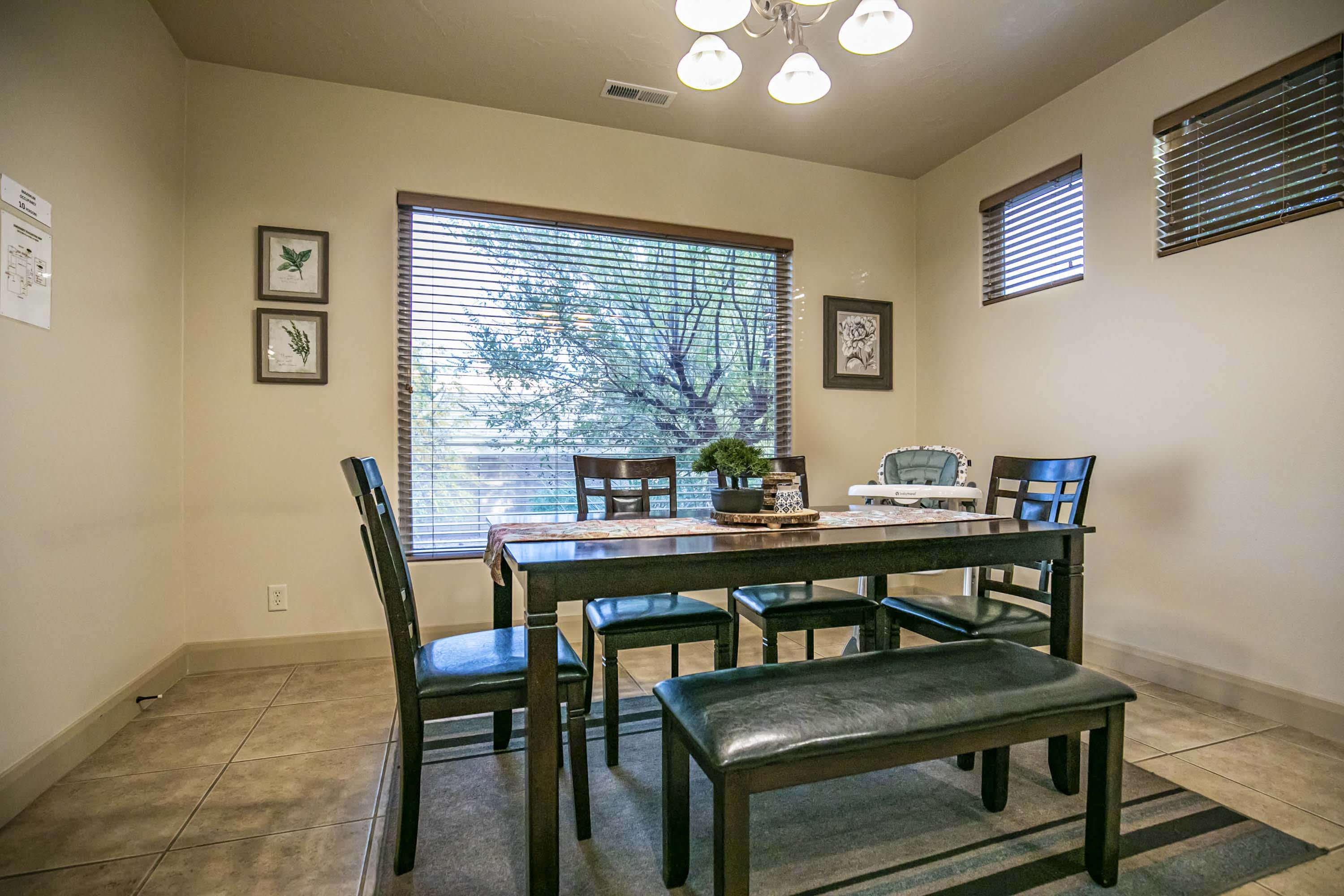 Eat at the 6-person dining table after preparing meals.