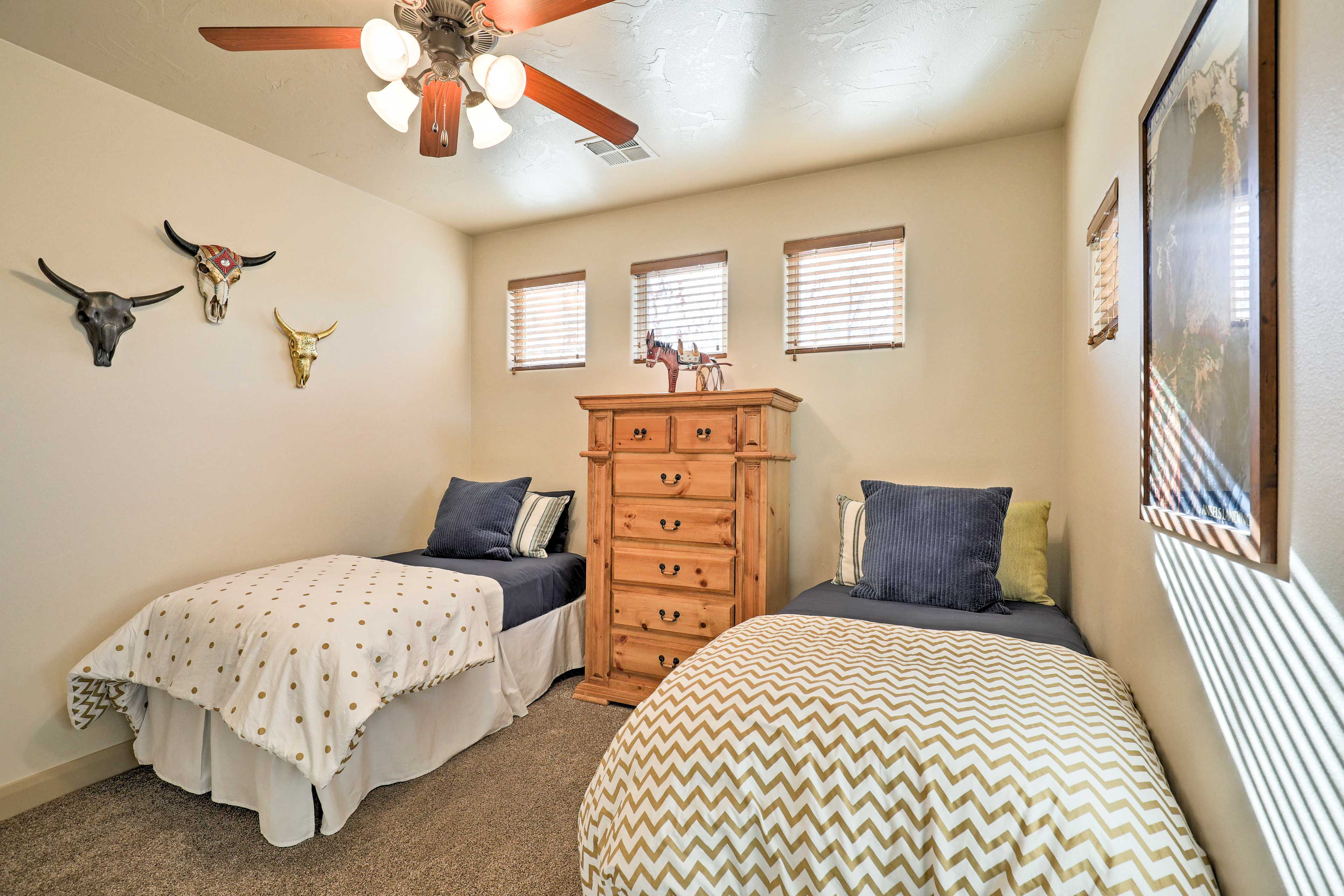 The third bedroom sleeps 2 with 2 twin beds.