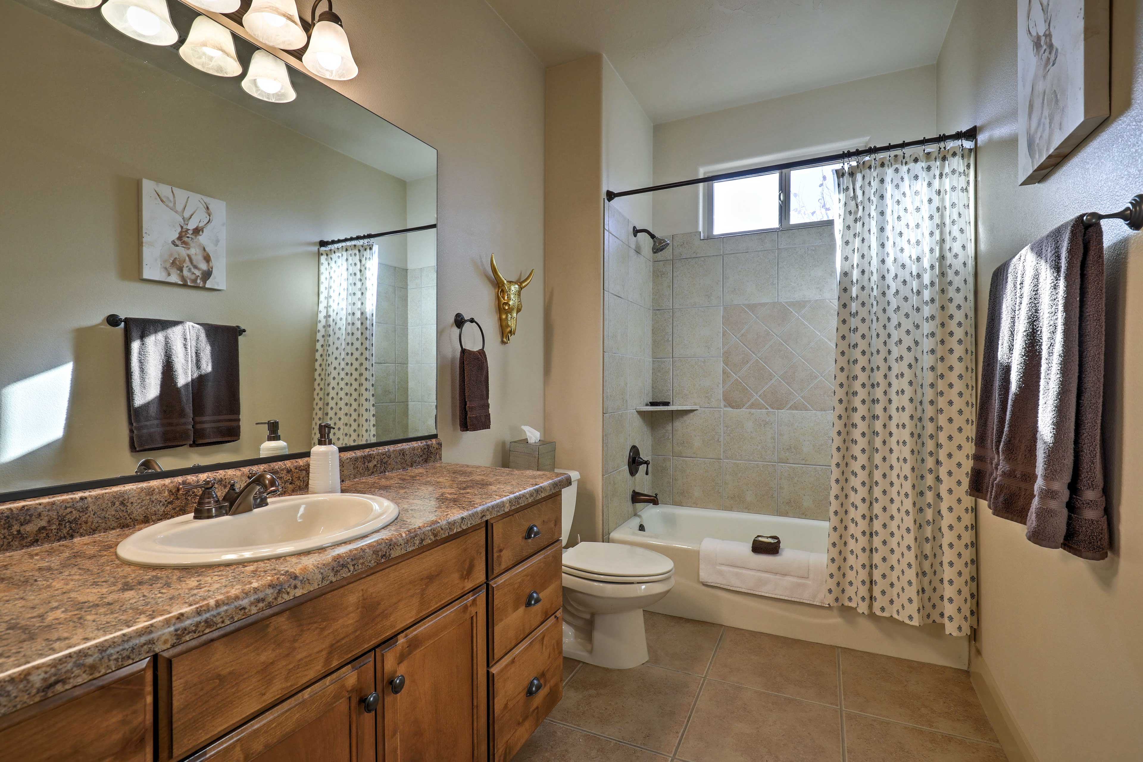 Get ready for the day in the walk-in shower.