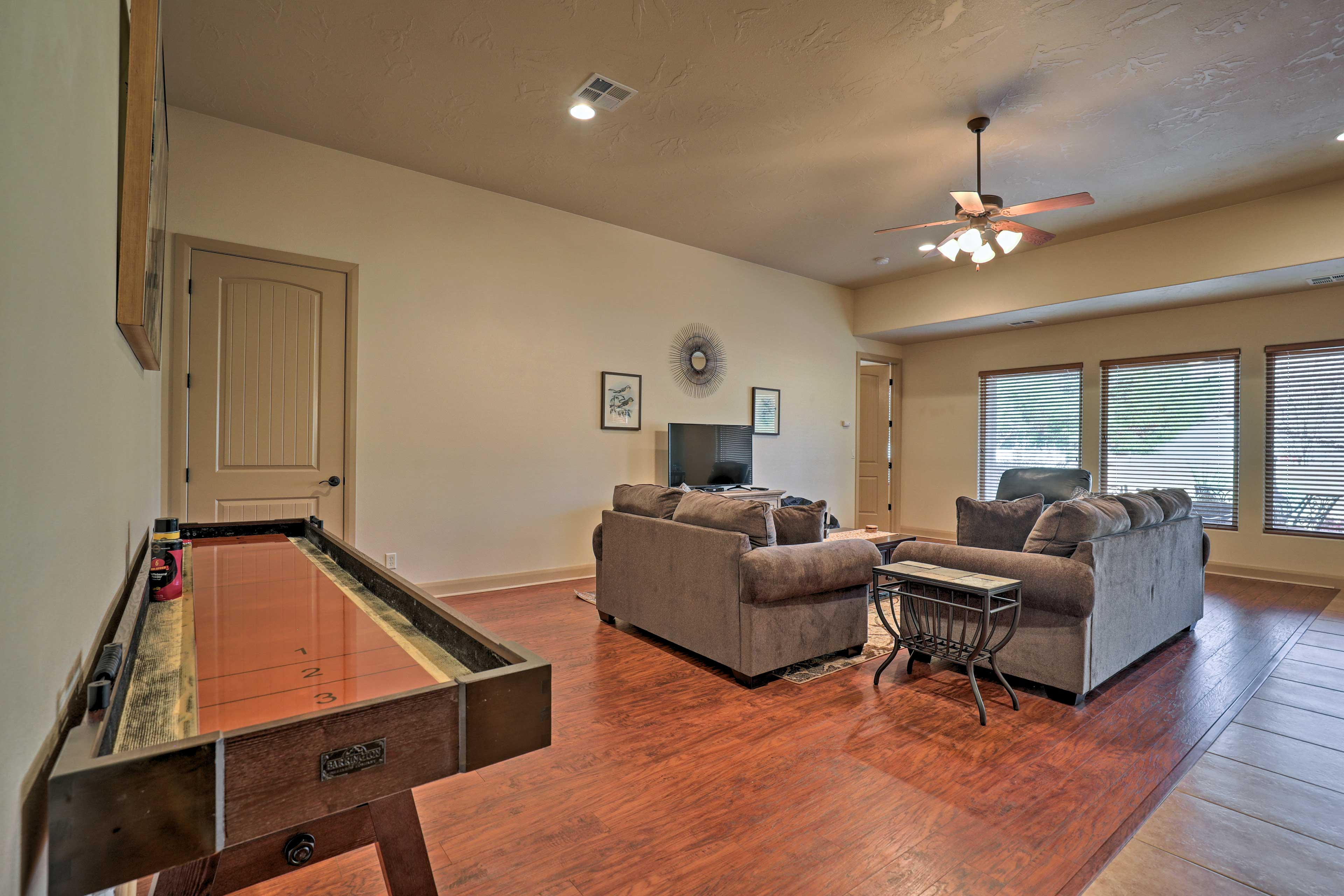 Play a game of shuffleboard in the living room!