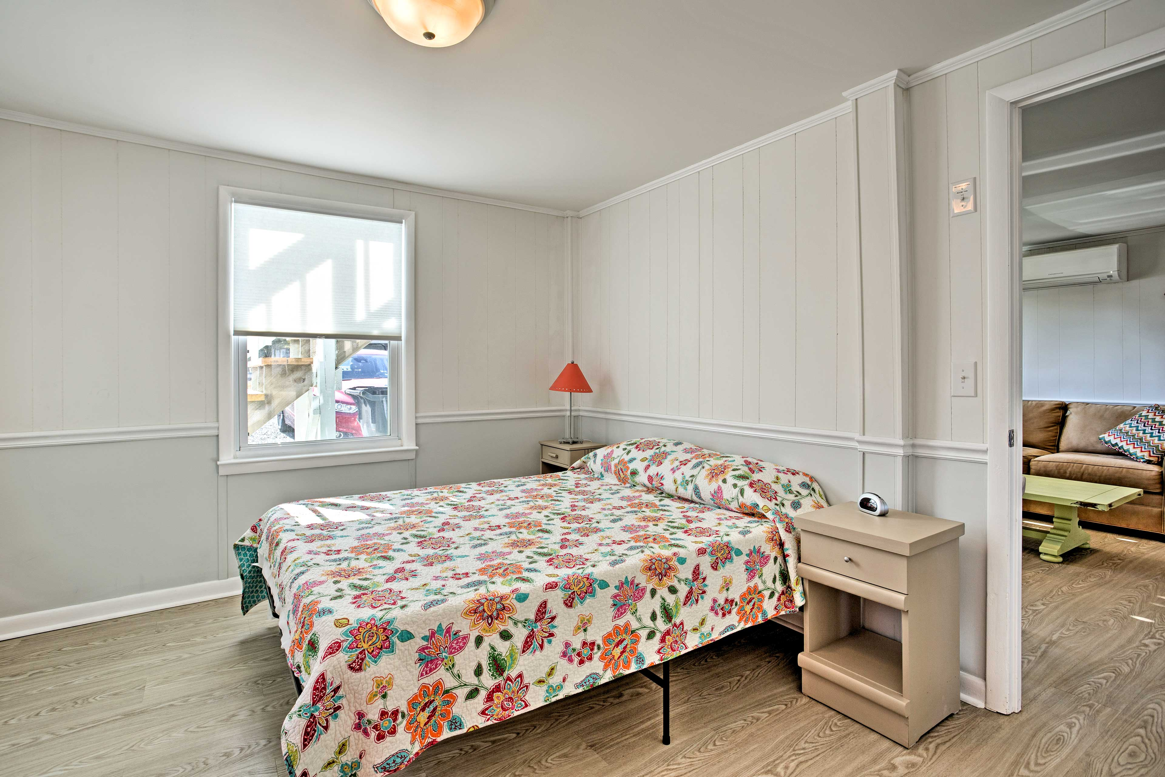 The last bedroom boasts a queen bed.
