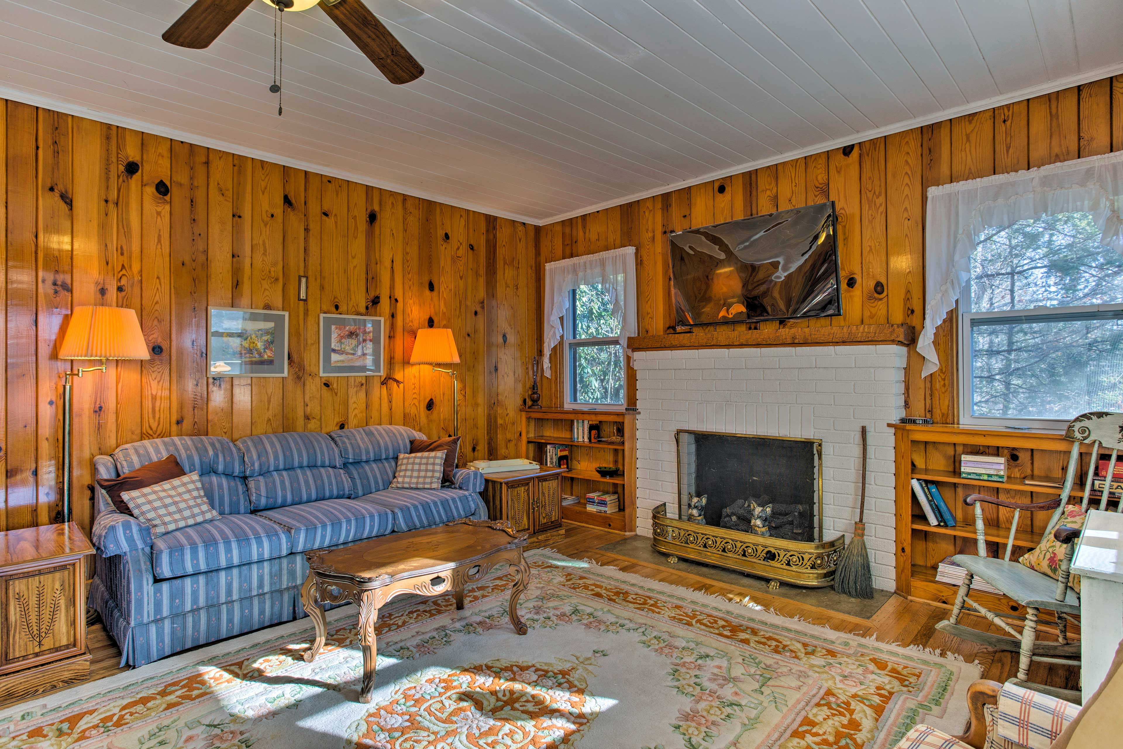 The living room is made even cozier with the addition of a gas fireplace.