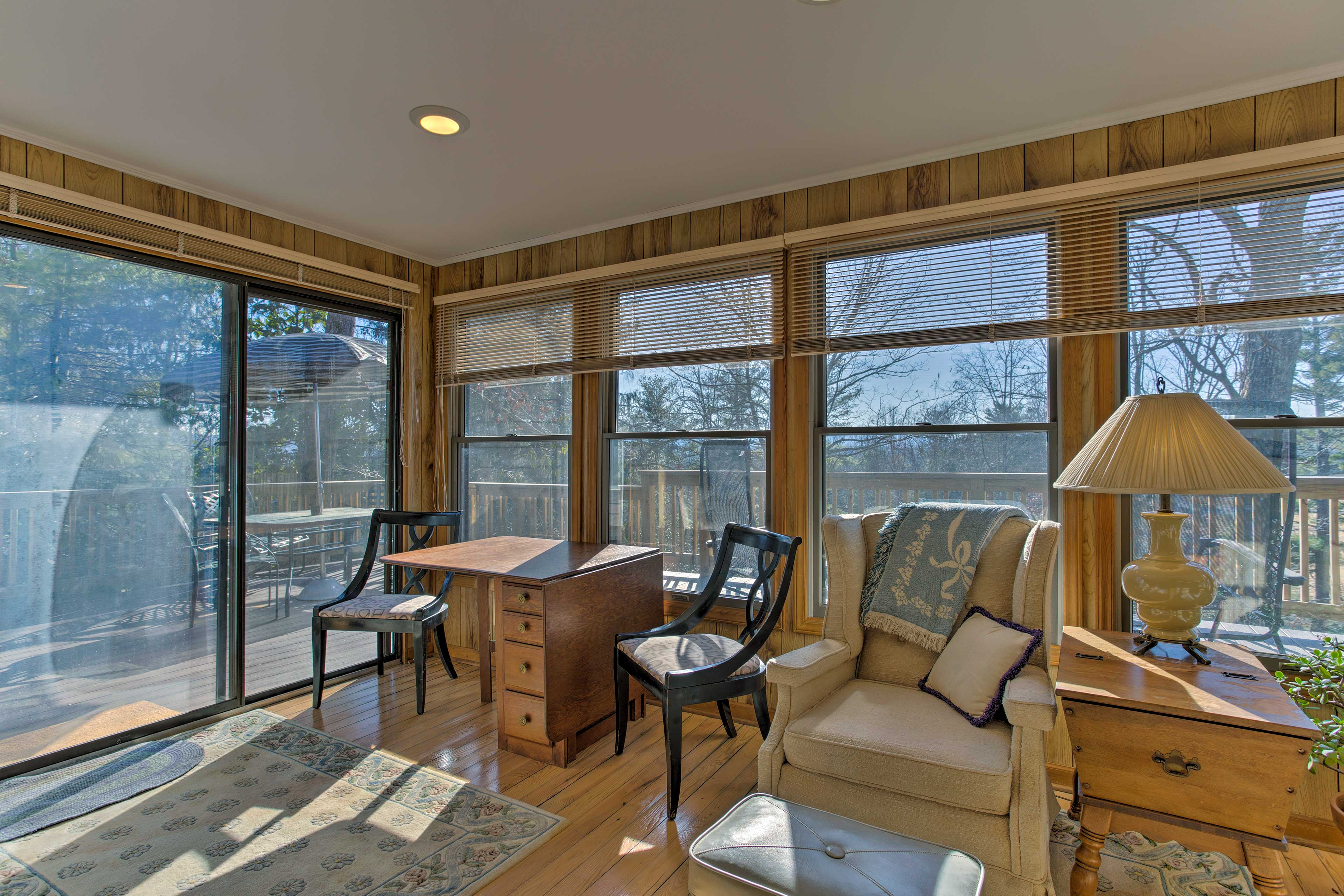 Large windows fill the home with warm, natural light.