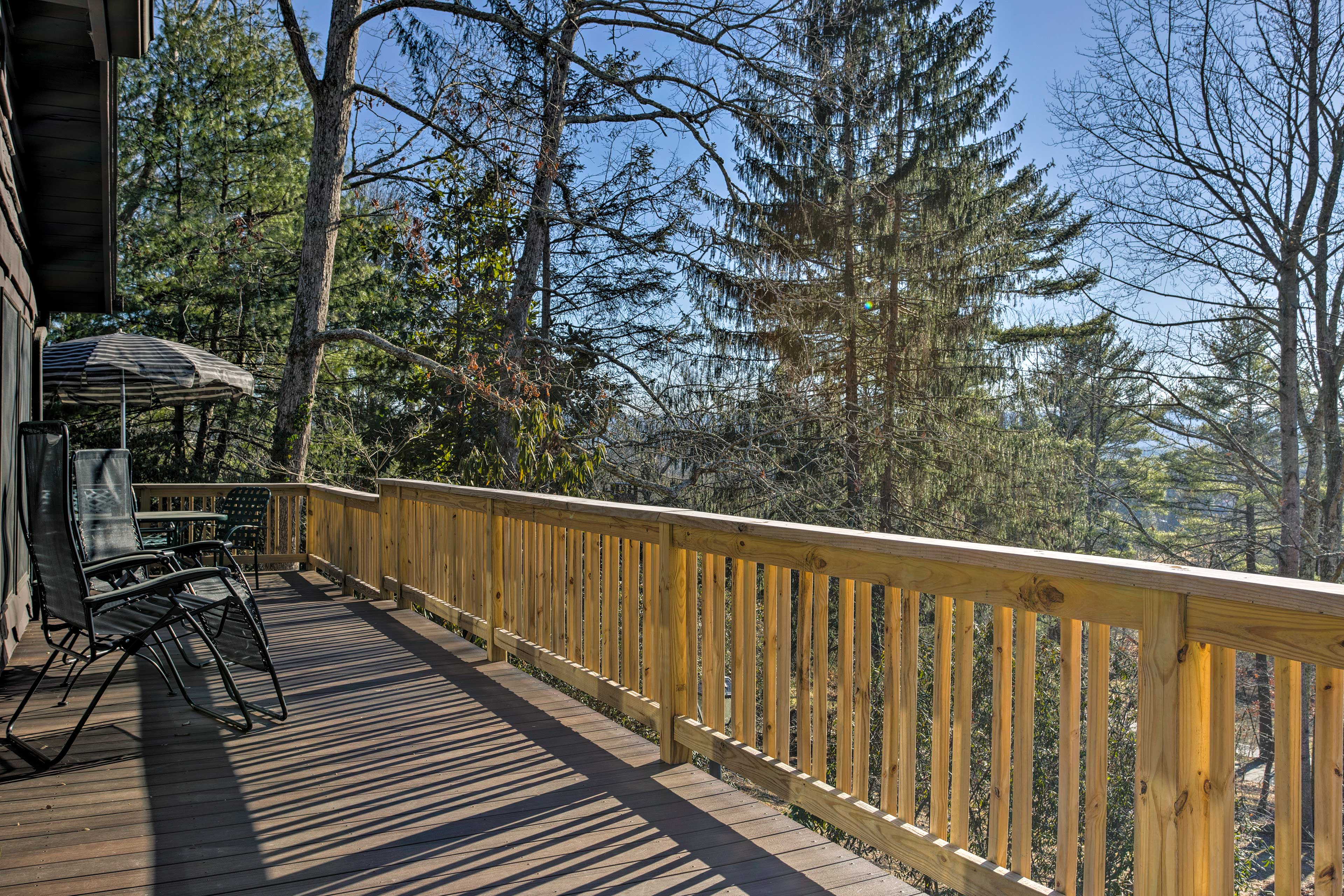 Bring a bottle of wine out to the deck to enjoy the North Carolina landscape!
