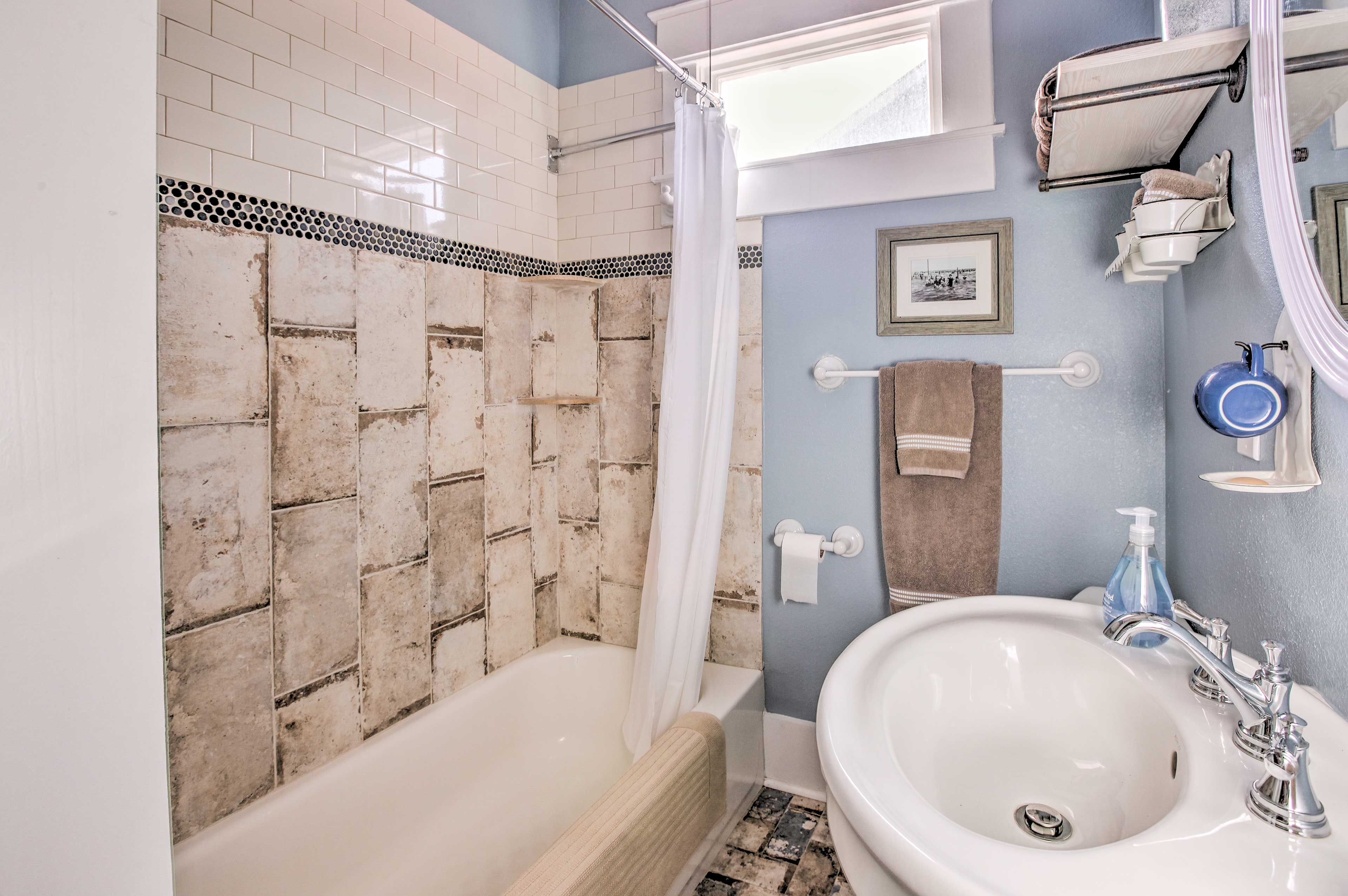 The full bathroom on the main floor offers a shower/tub combo.