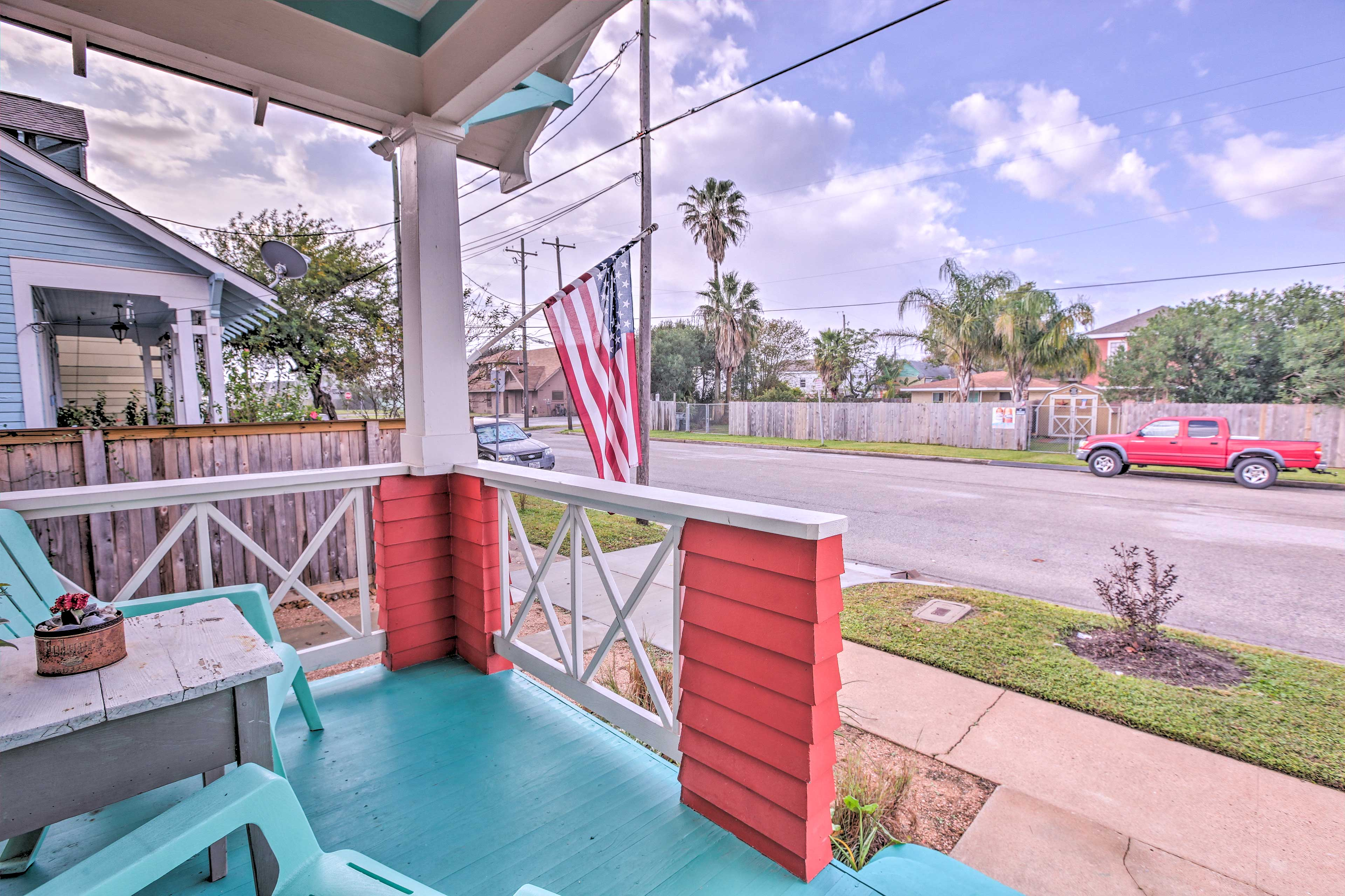 Enjoy your favorite drink on the front porch as you relax in the outdoor chairs.