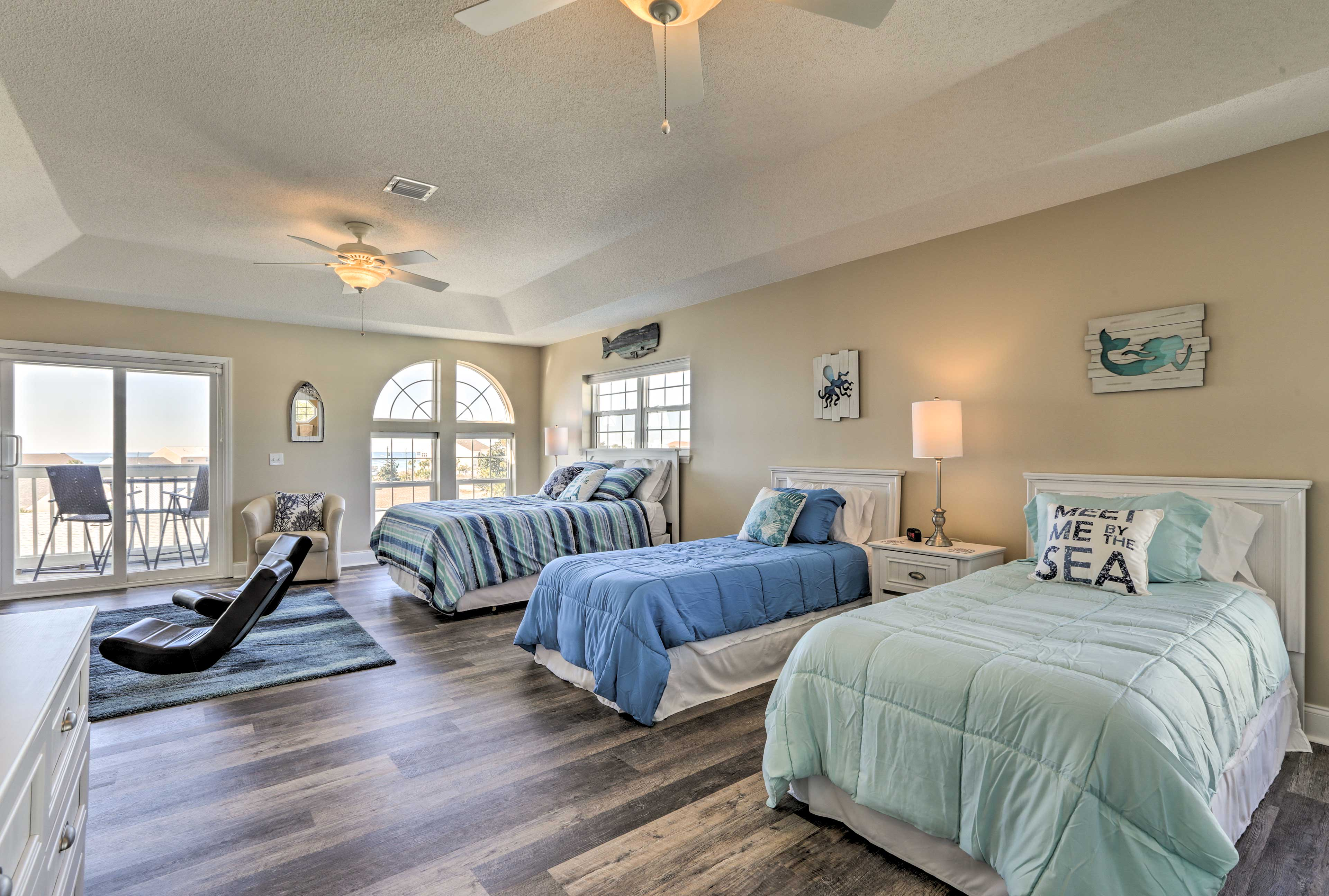 Perfect for kids, the third floor houses a queen and 2 twin beds.