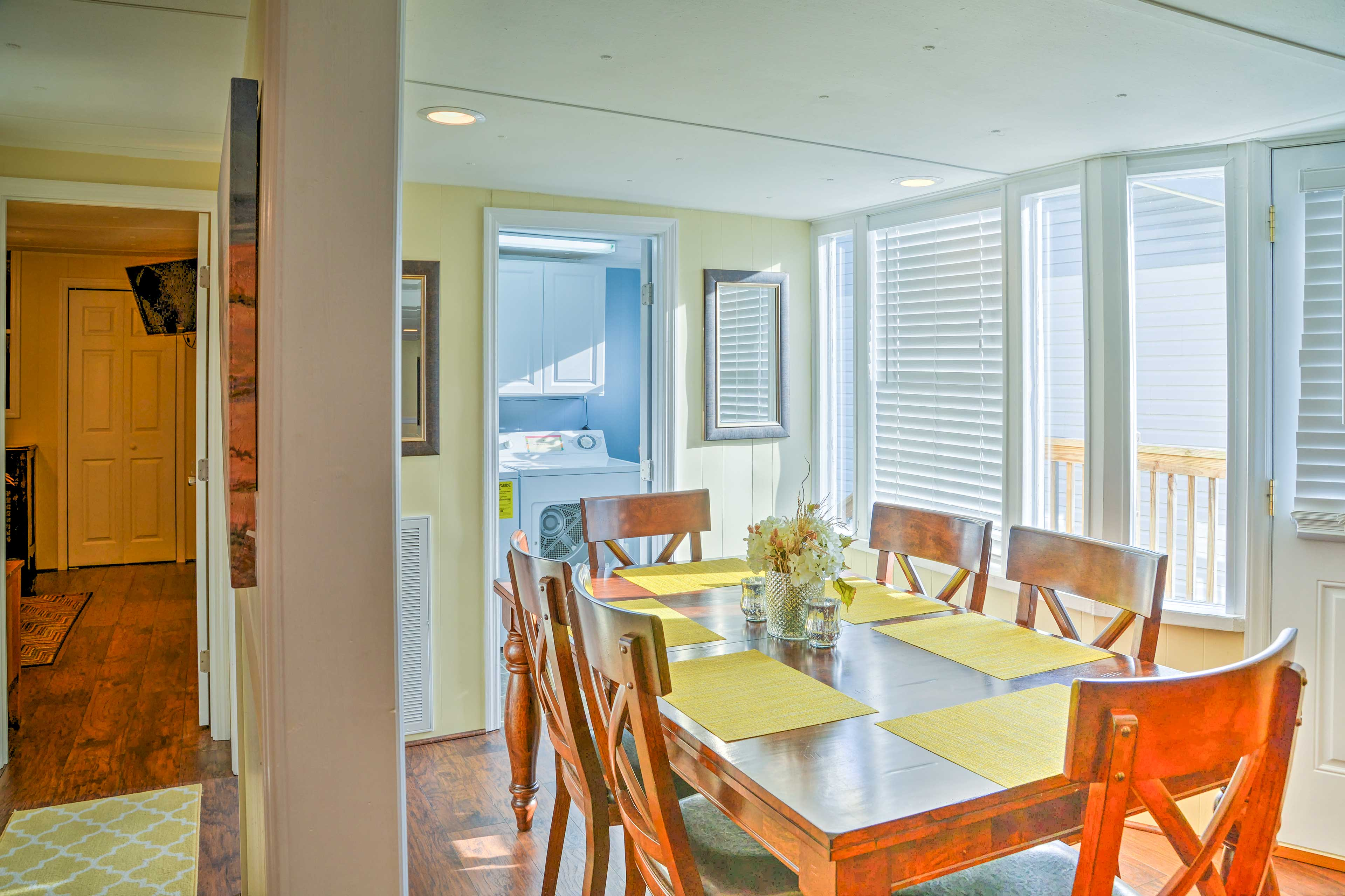 Home-cooked meals are waiting to be served at the dining table.