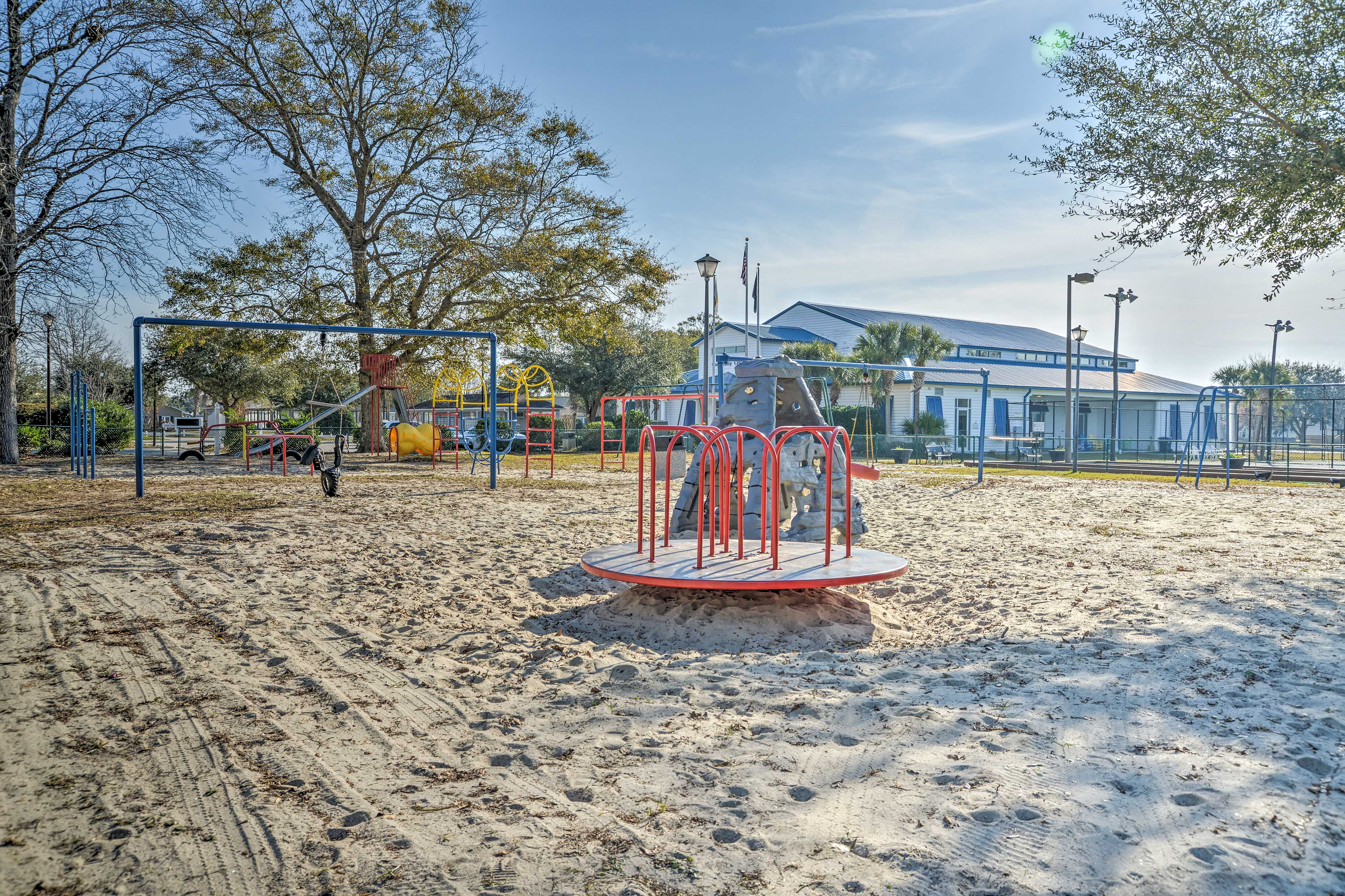 Kids can play on the jungle gym near the main park with a baseball field.