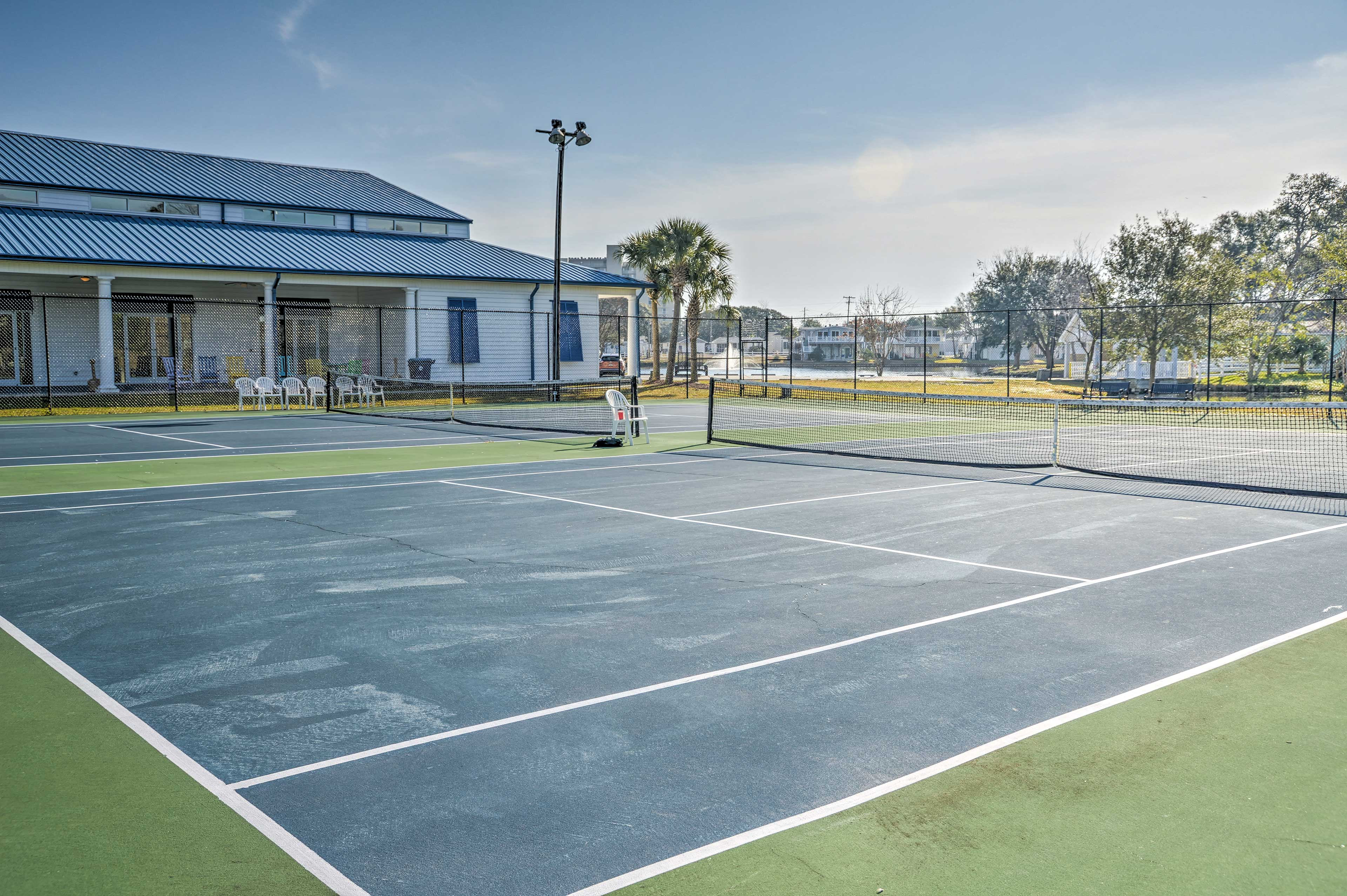 Play a friendly game of tennis at the tennis courts!