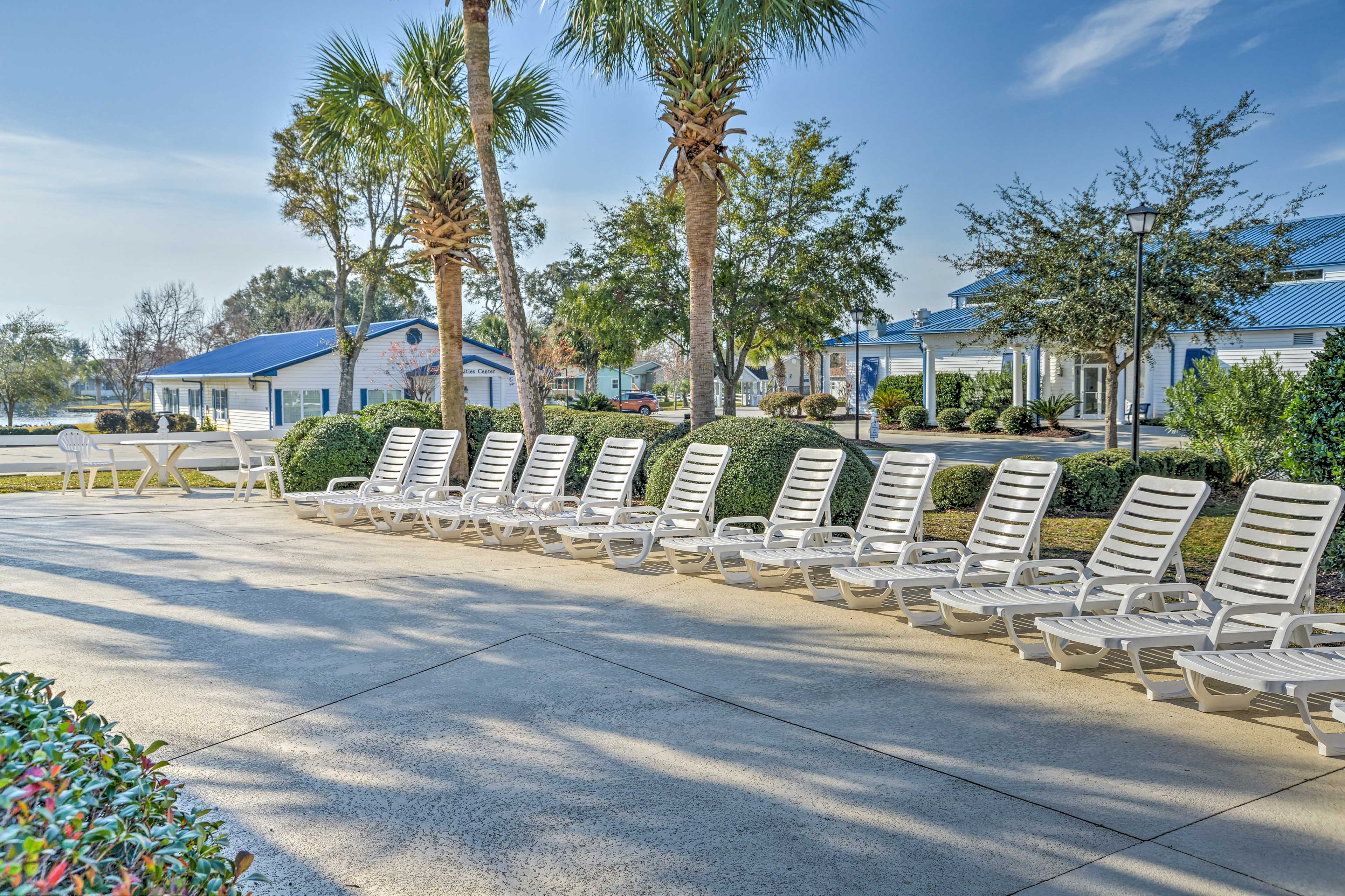 Bask in the sunshine on the lounge chairs.