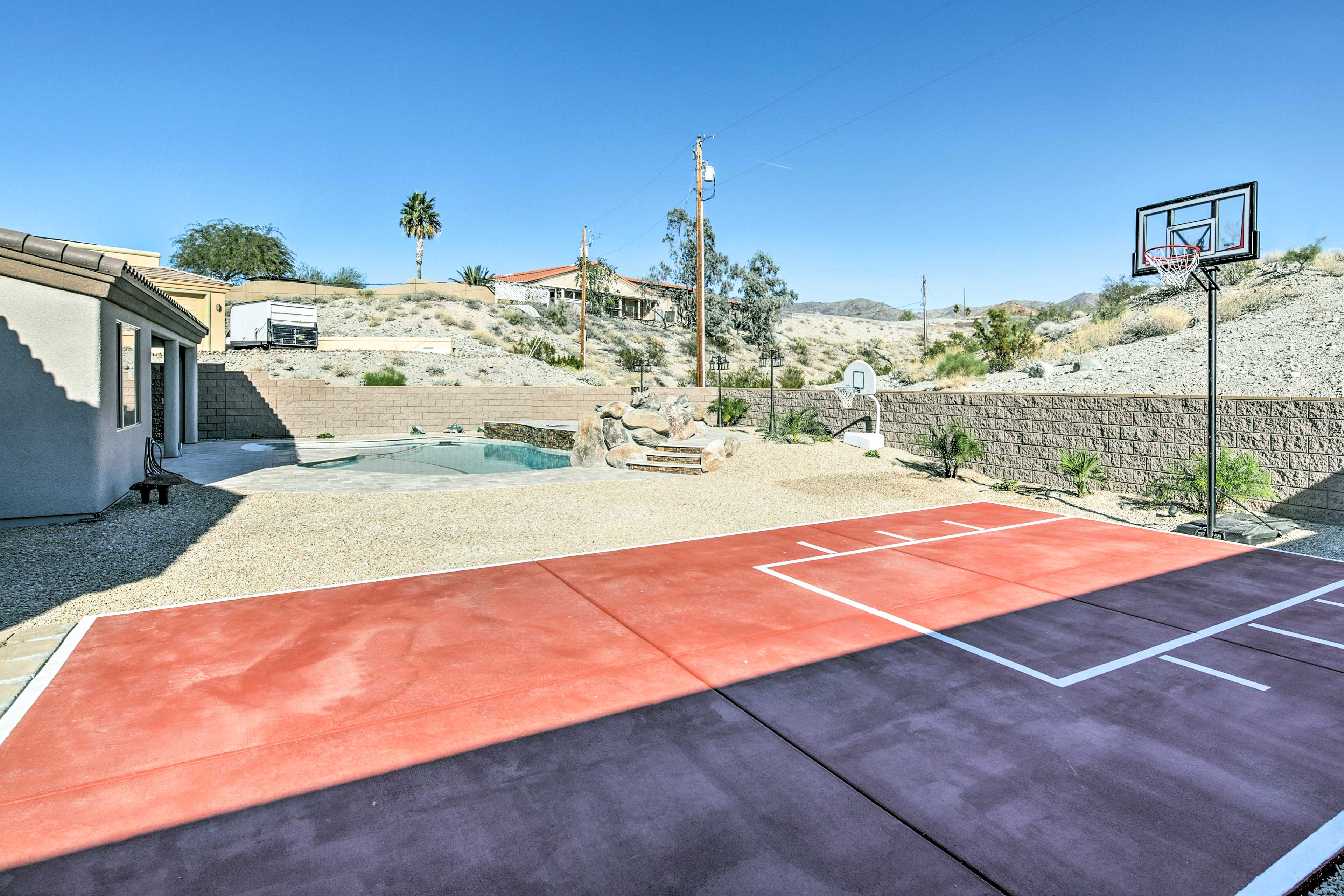 Let the kids work off some energy on the private basketball court.