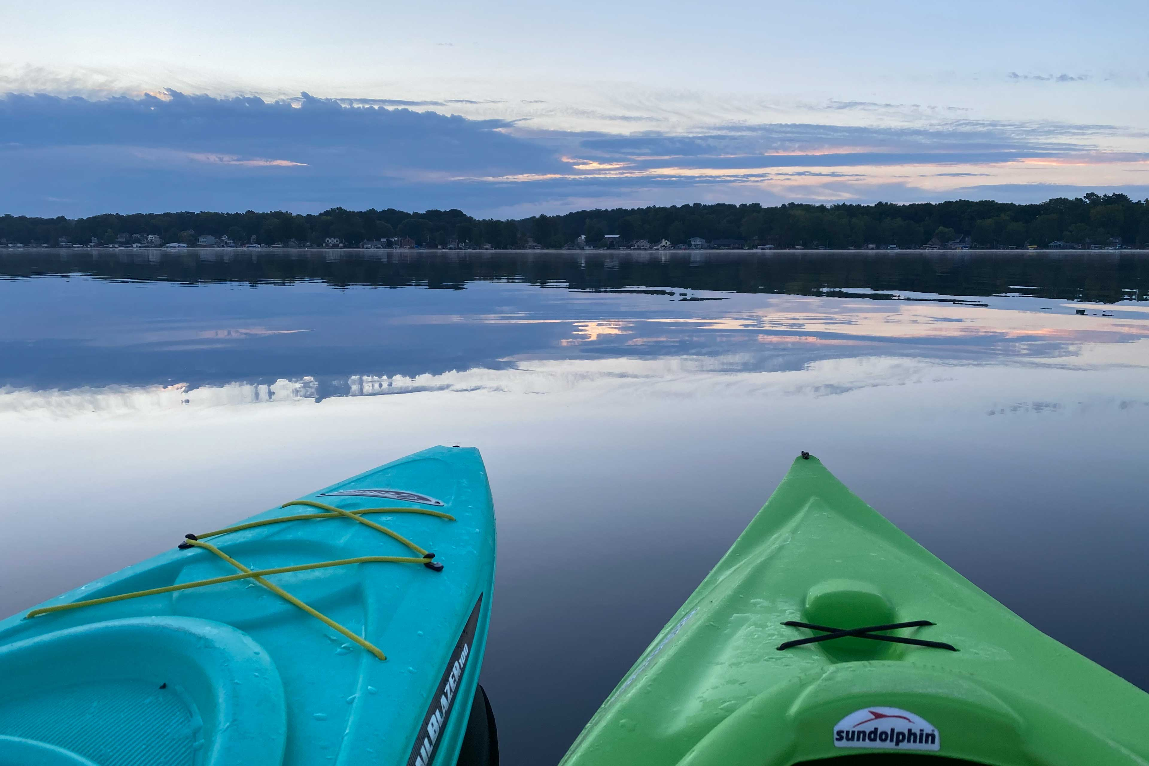 Enjoy the sunrise from the comfort of two kayaks, included with your stay!