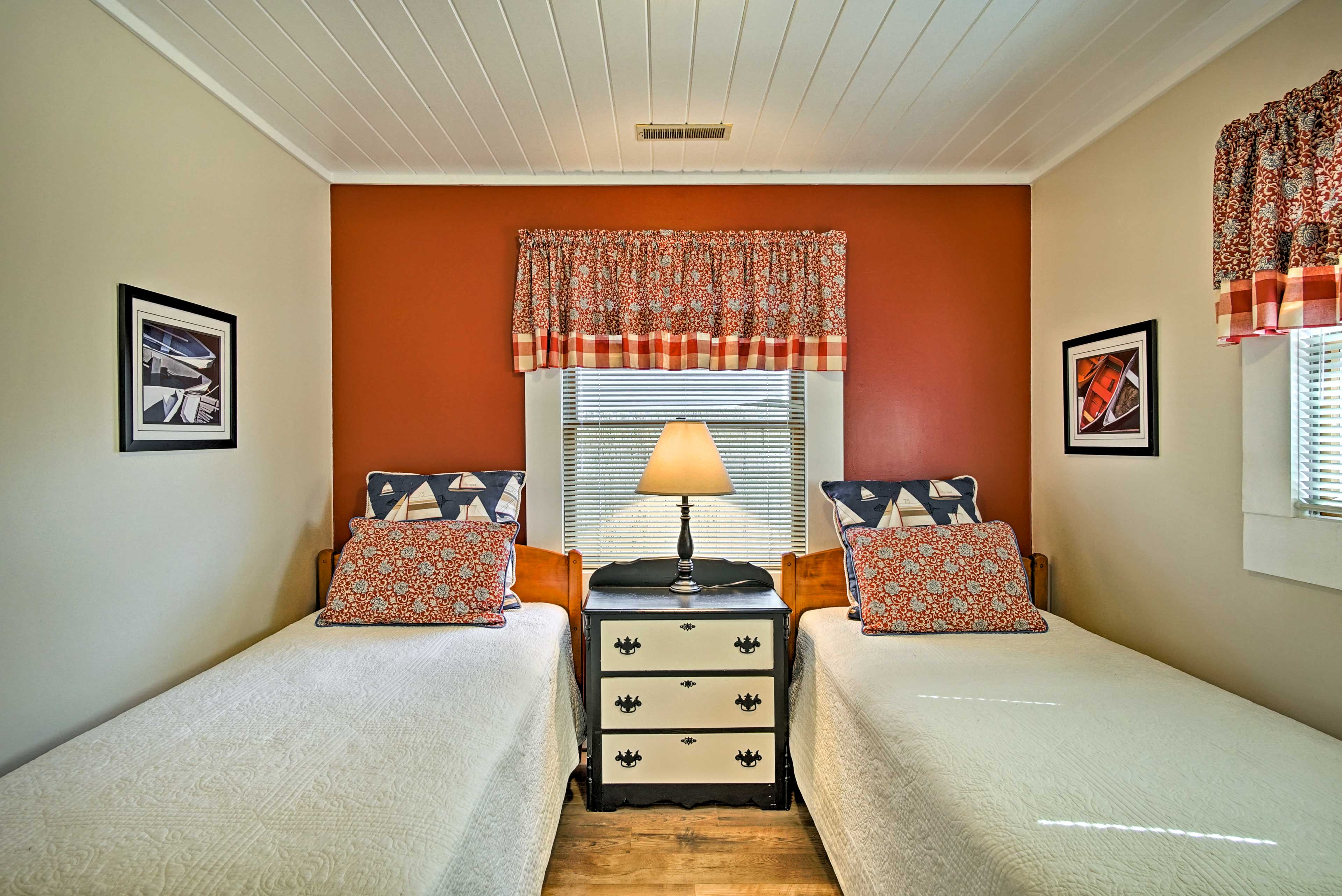 Tuck the kids into the 2 twin beds in the third bedroom.