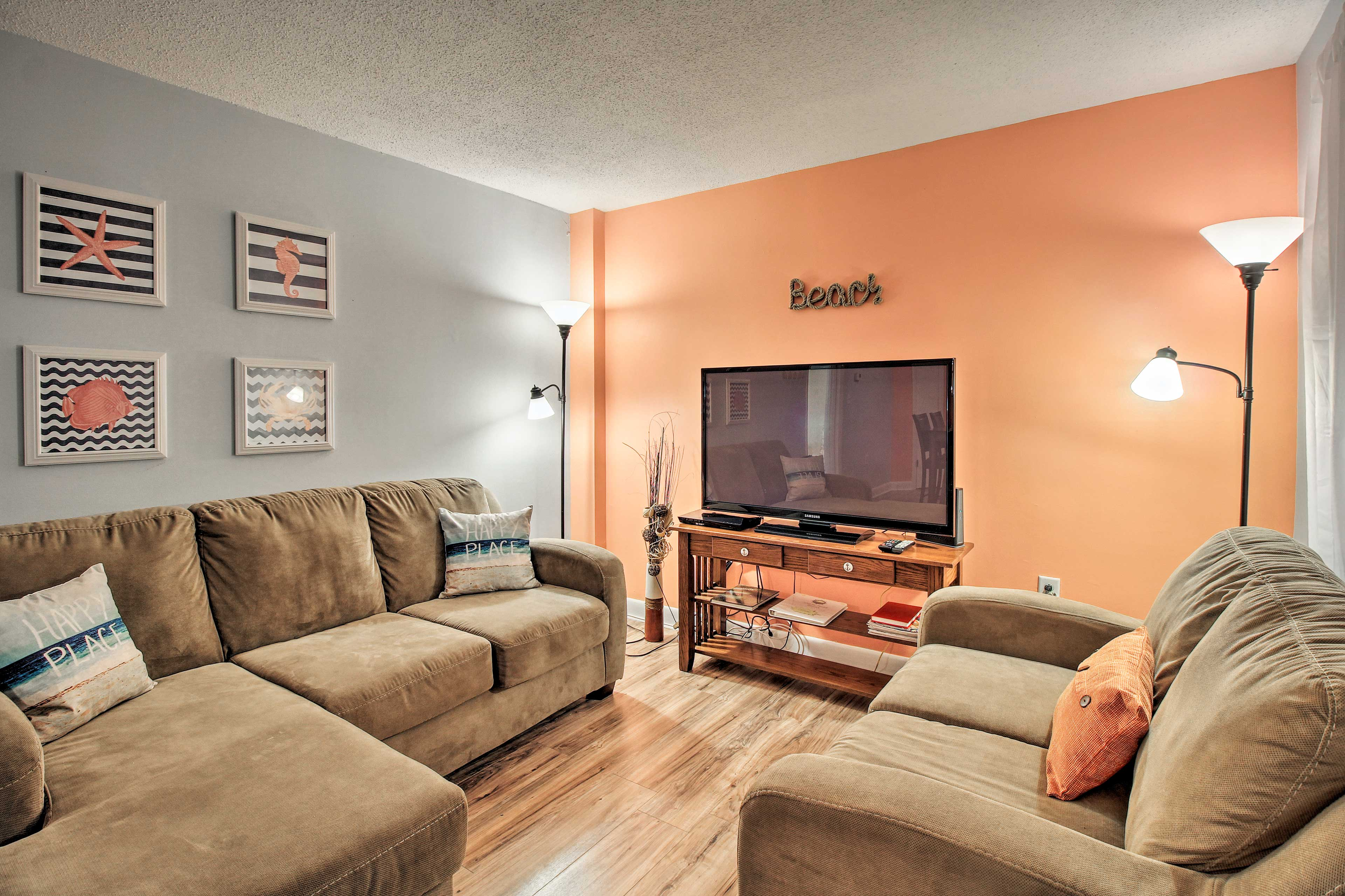 Unwind with a movie on the flat-screen cable TV with a Blu-ray and DVD player.
