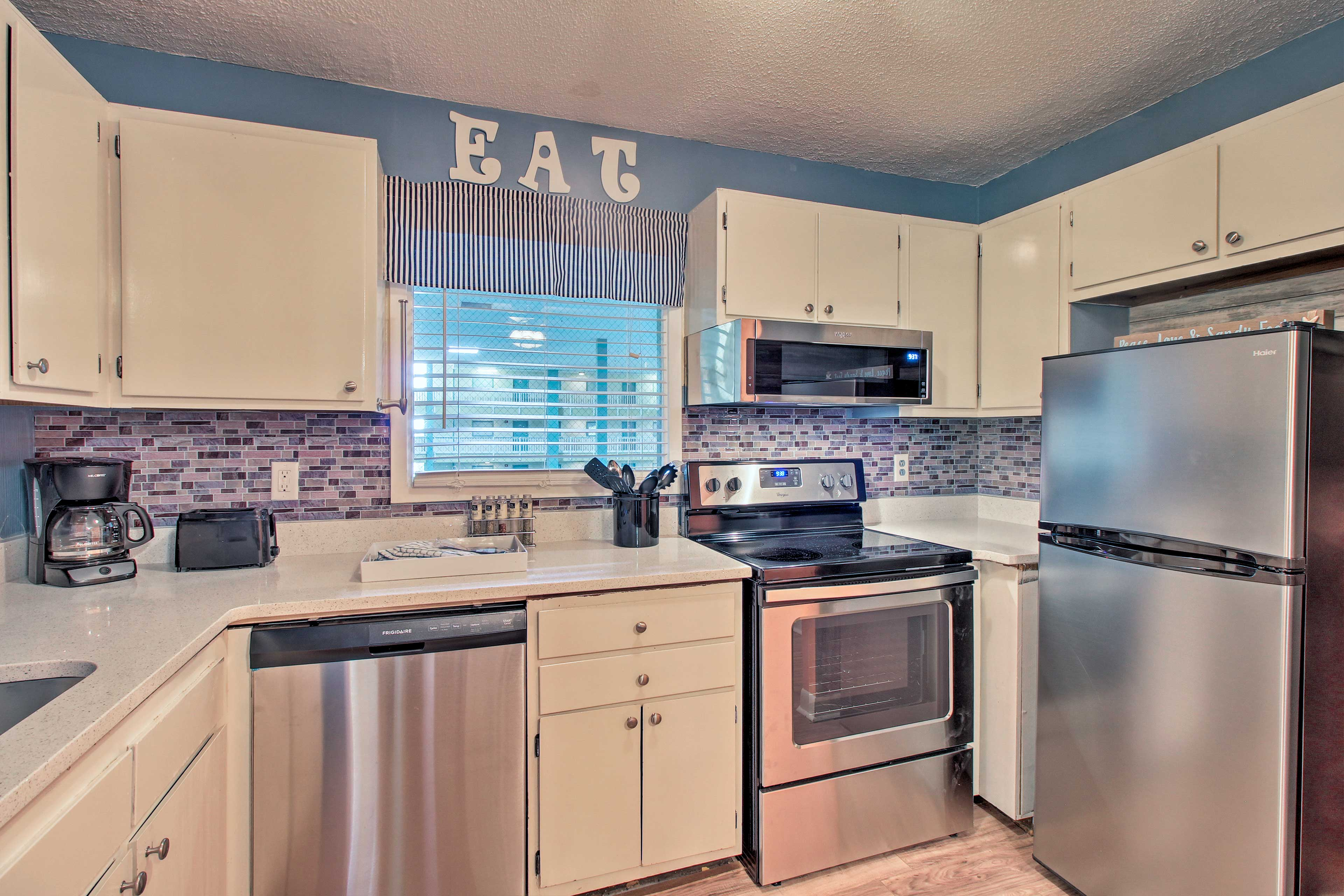 You'll have plenty of counter space to utilize in the kitchen.