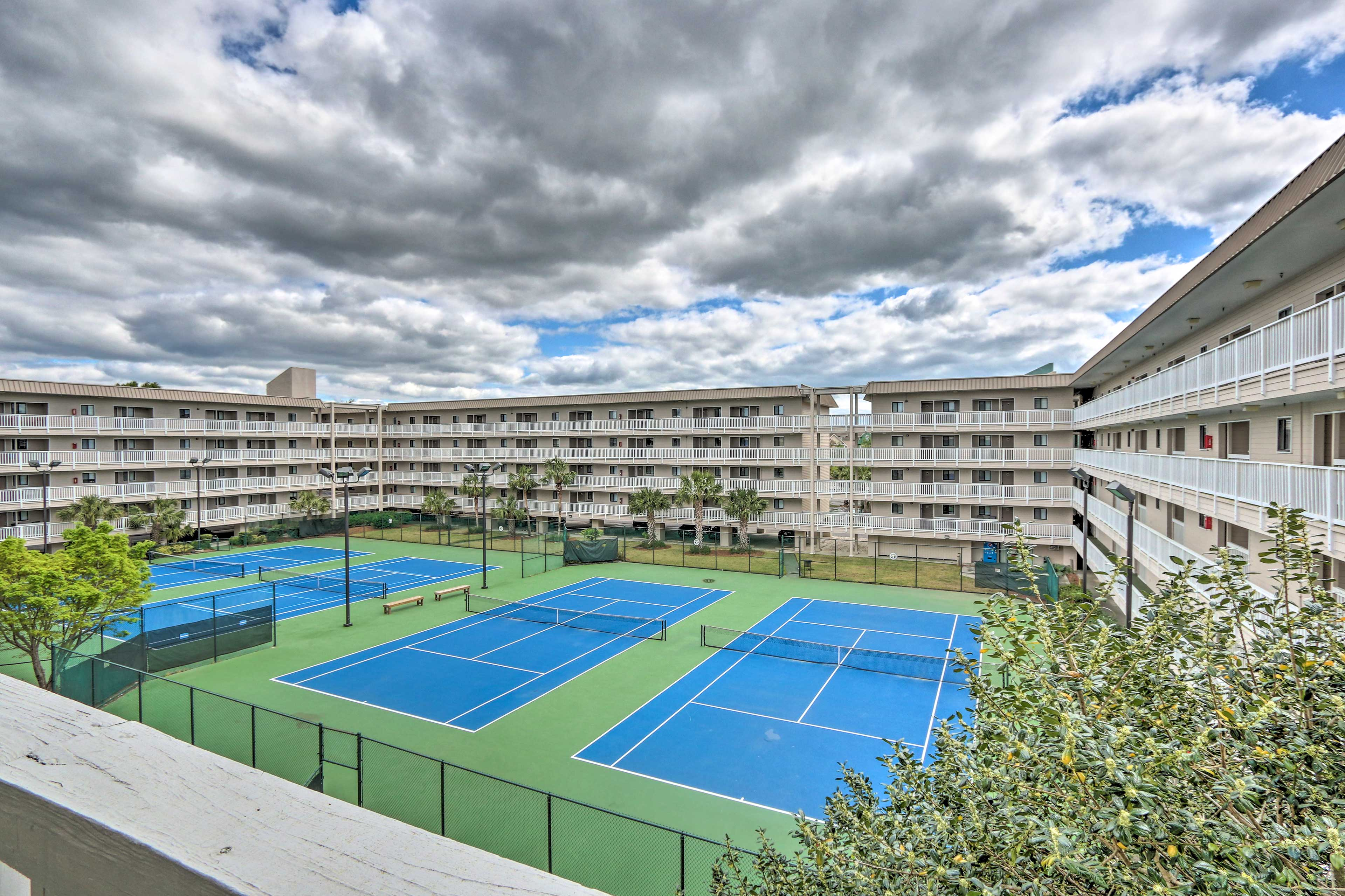 Compete with friends in a game of tennis on one of the many courts!