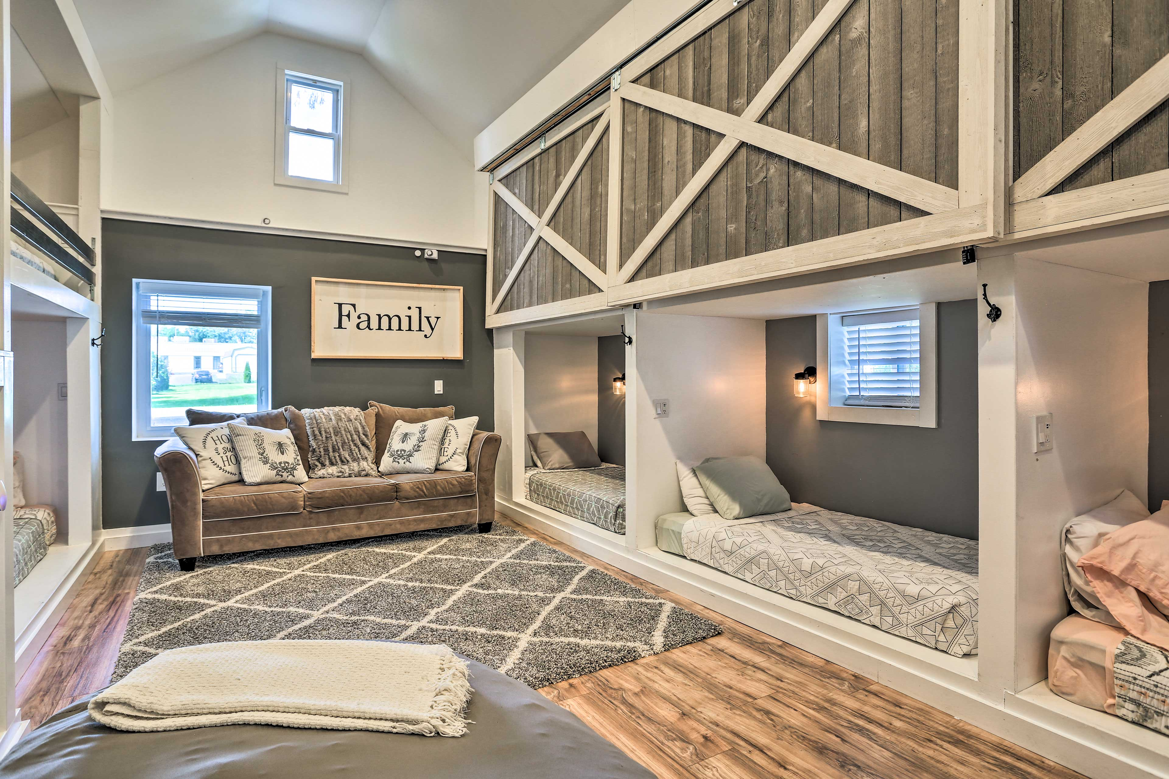 This room sleeps 7 on 5 twin beds and the sleeper sofa, great for the kids!