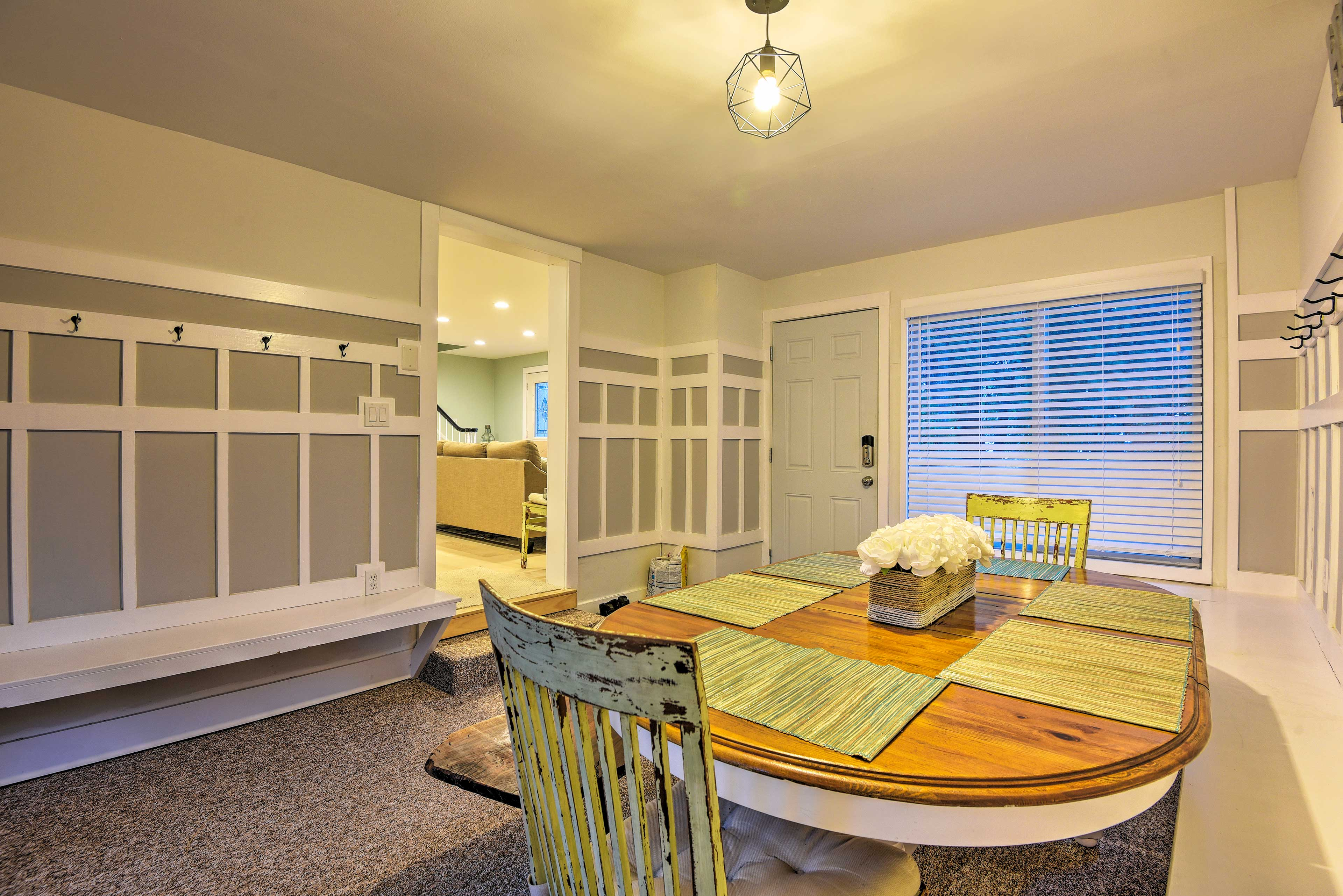 Just off of the kitchen is a lovely dining area.