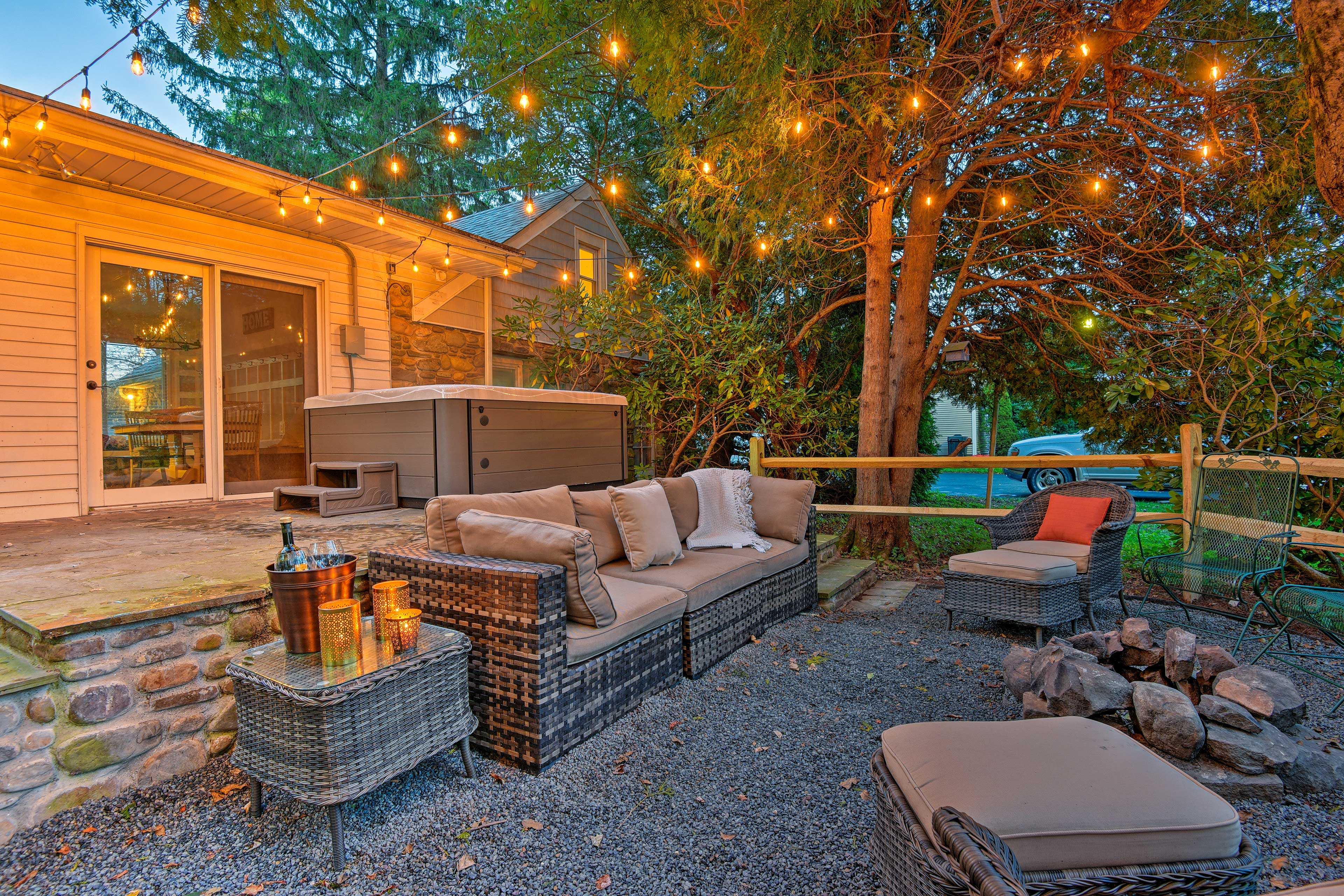 The dreamy backyard is the ideal spot to relax.
