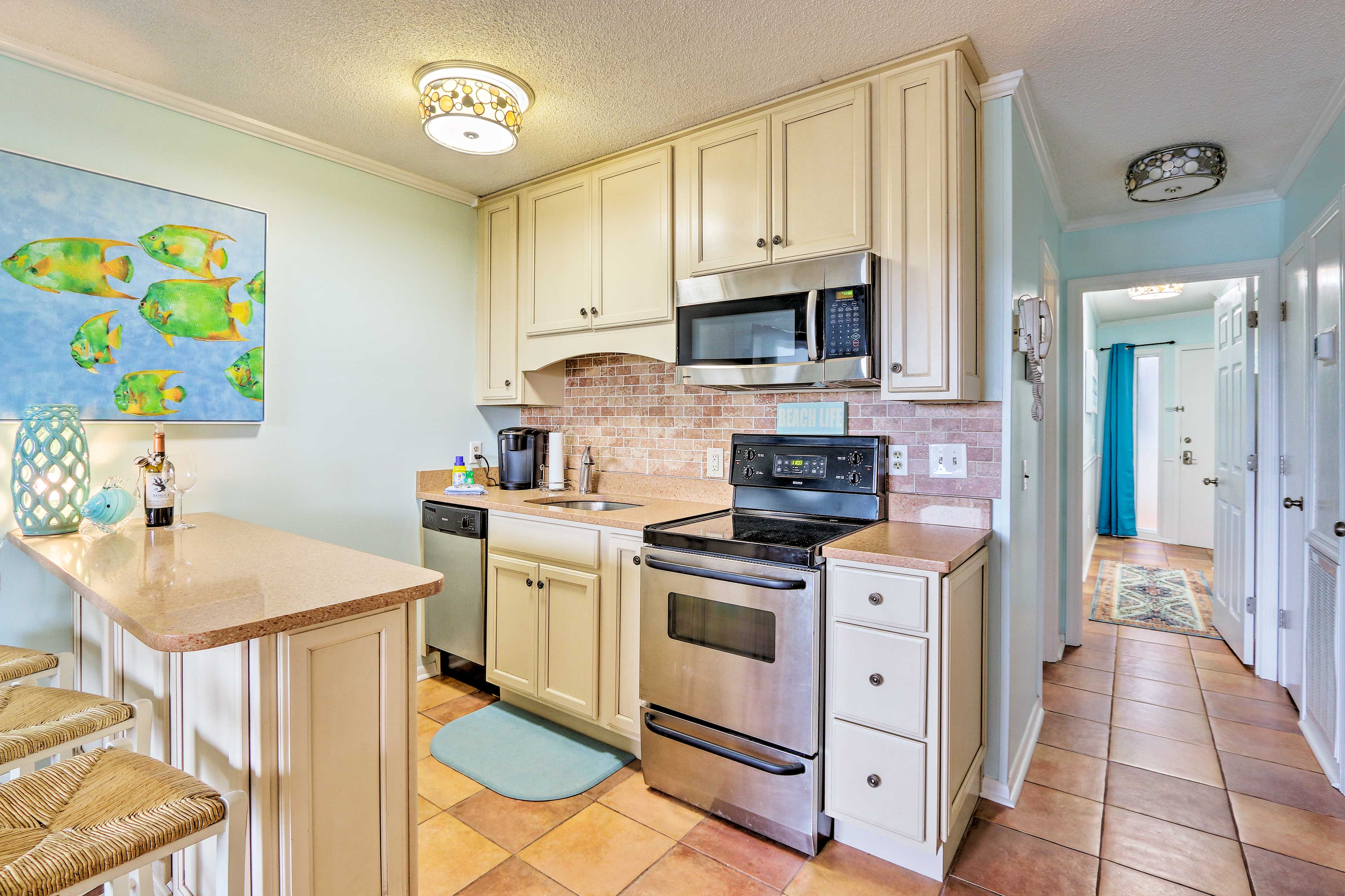 Prepare Lowcountry cuisine with ease in the fully equipped kitchen.