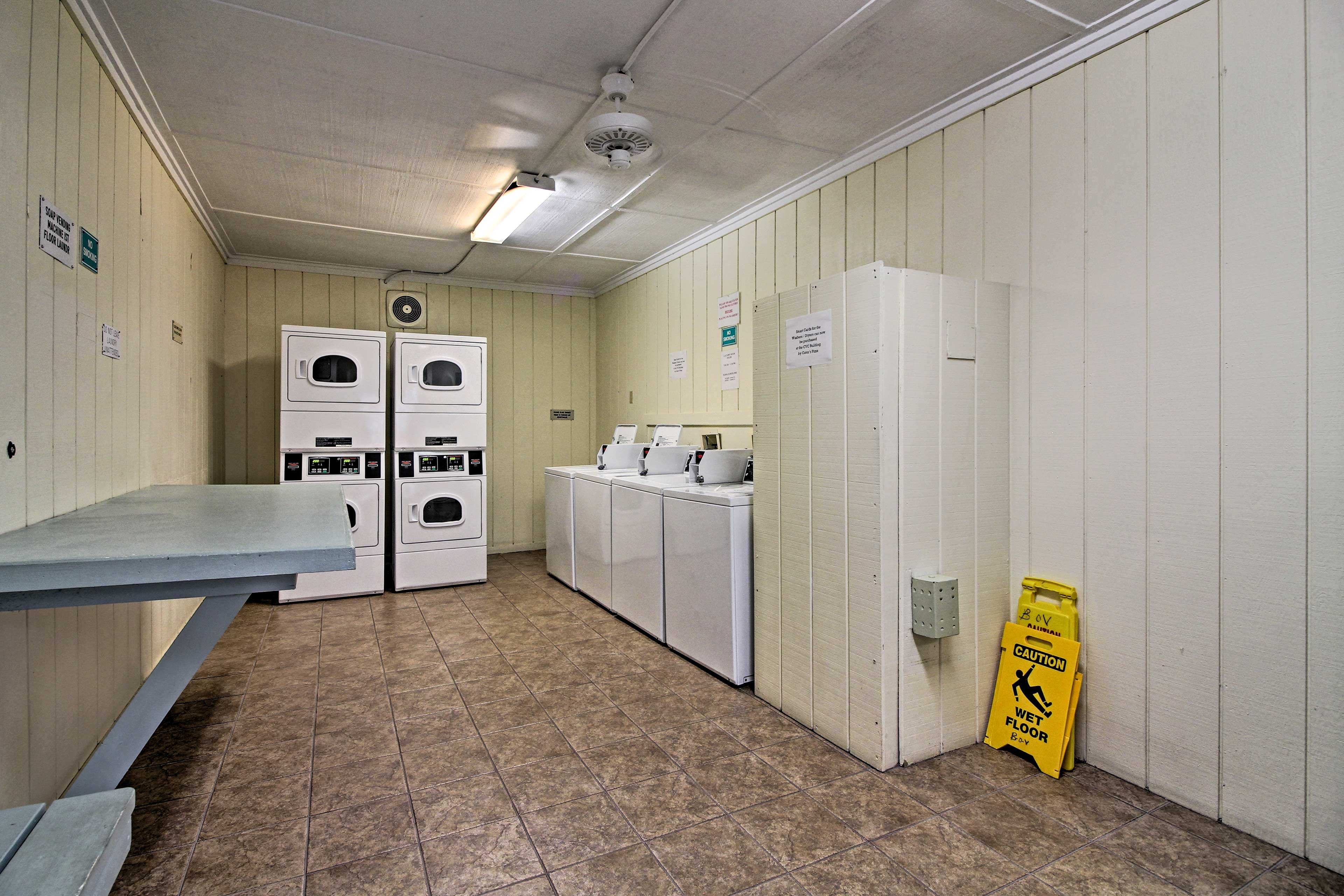 A pristine on-site laundry facility is available to you.