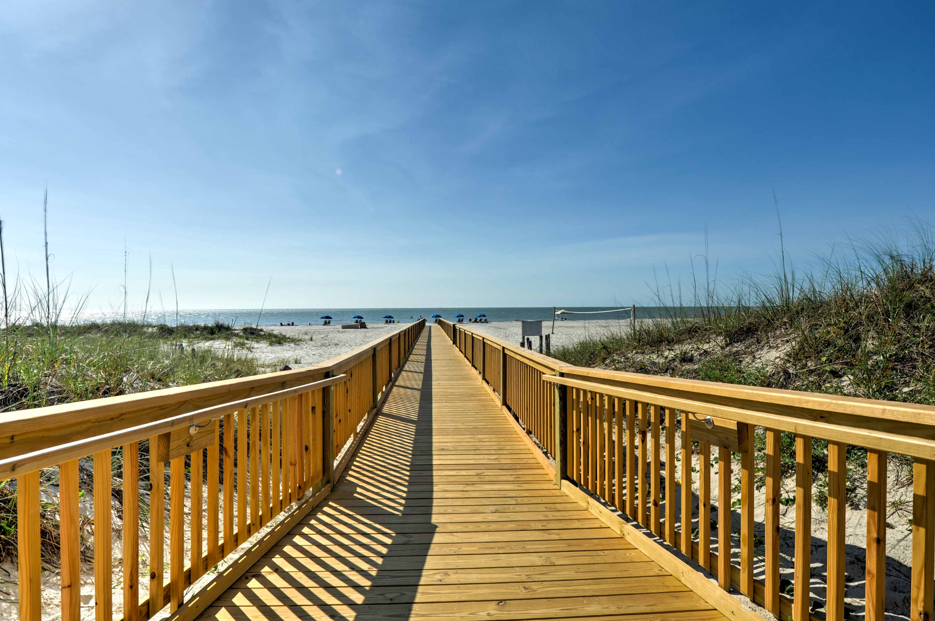 The beach is just a hop, skip, and jump away from the vacation rental.