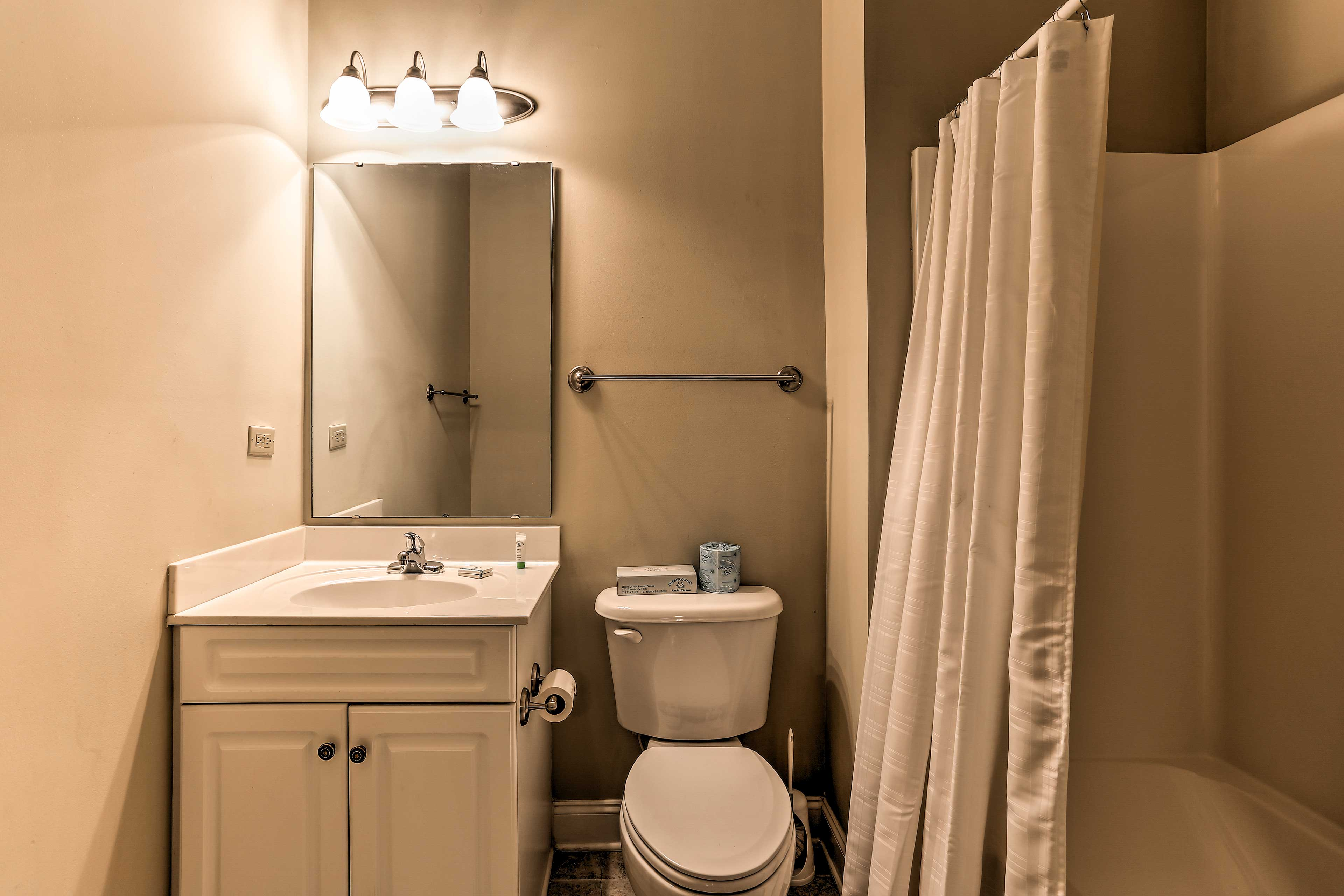 This first full includes provides a shower/tub combo.