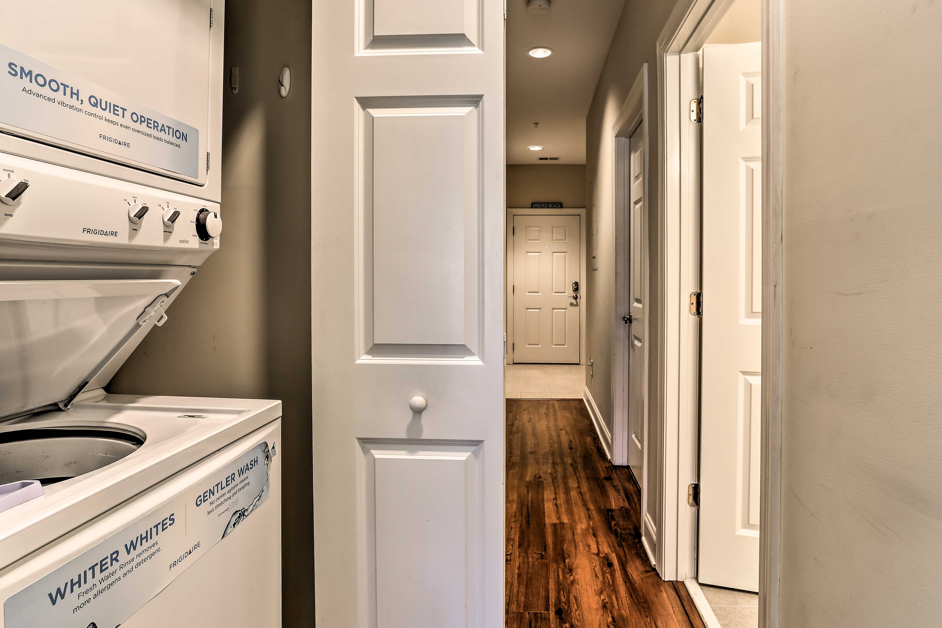 Avoid packing up dirty clothes when you leave by using these convenient in-unit laundry machines.