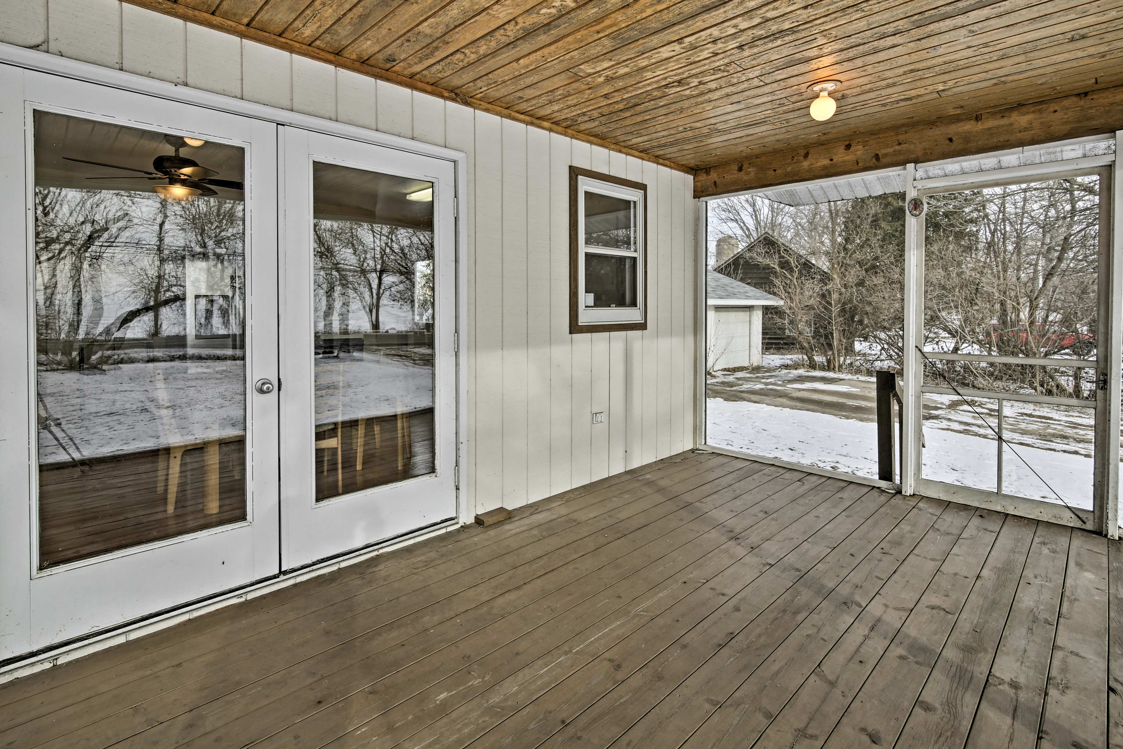 The screened-in porch lets you relax in the warm Wisconsin evenings.