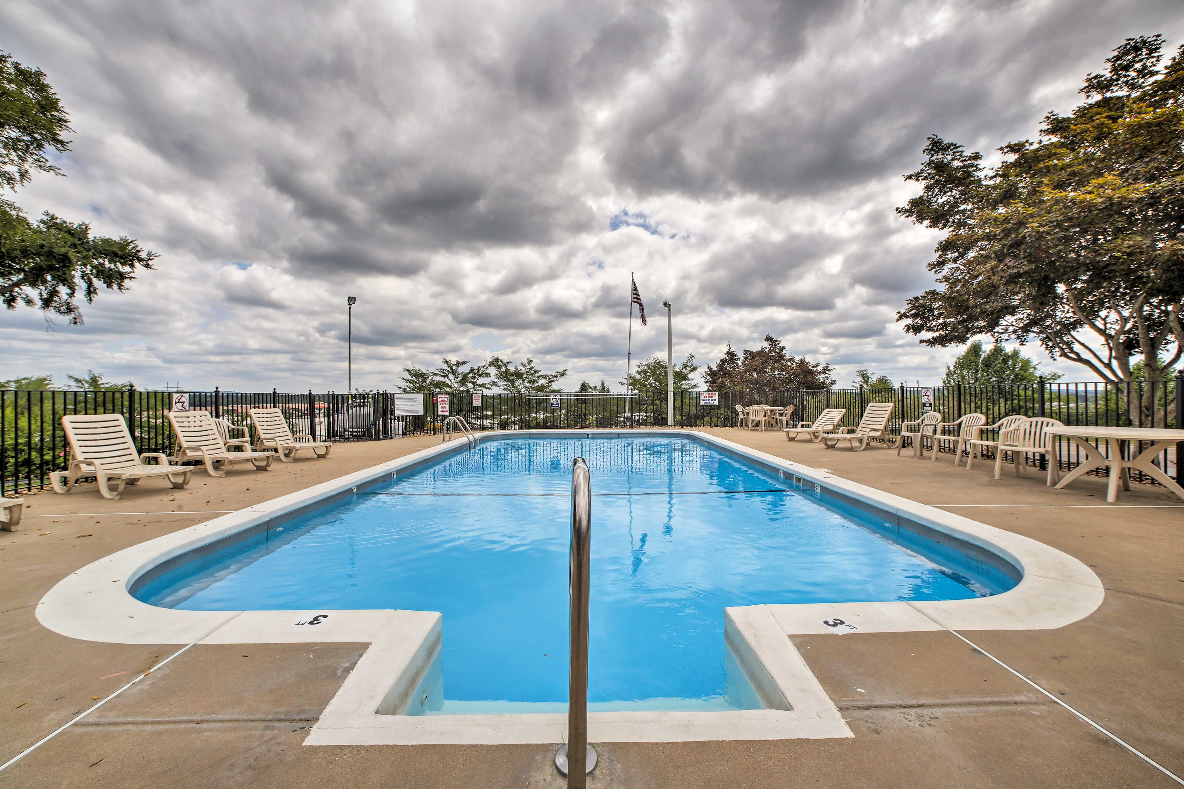 This community pool is the perfect place to spend your warm summer days.