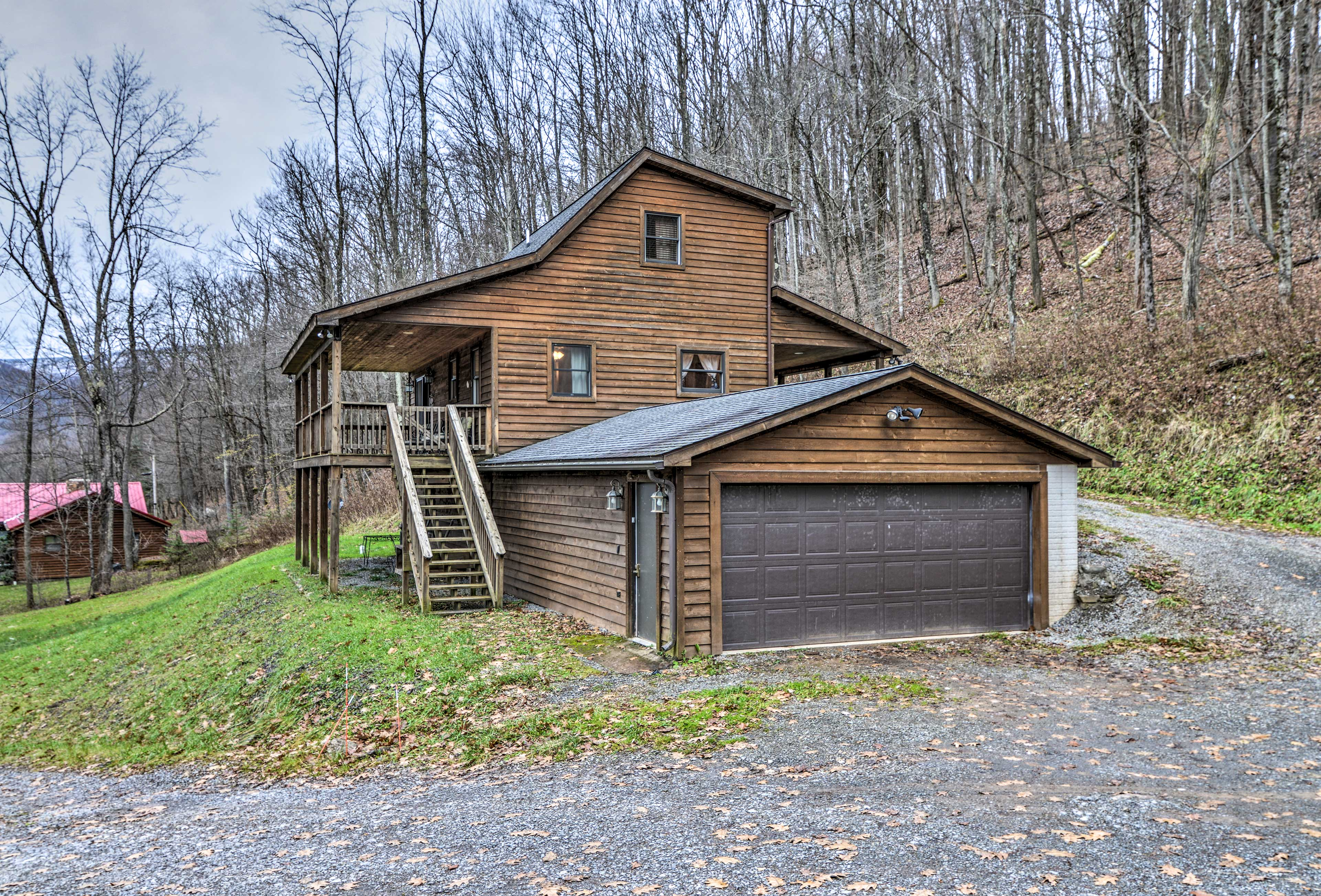 The cabin offers free driveway parking for up to 3 vehicles.