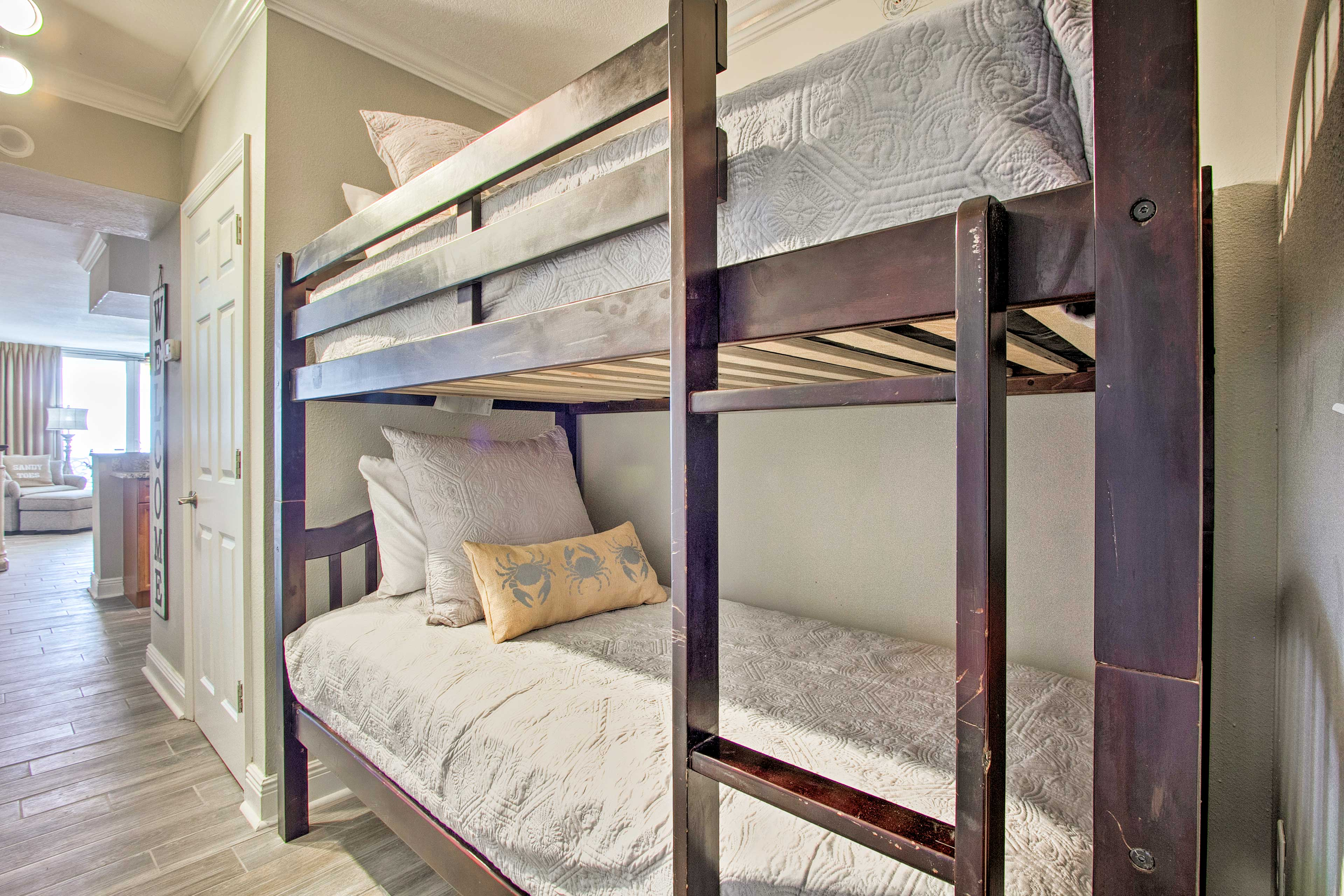 Additional sleeping can be found on the twin-over-twin bunk bed in the hall way.