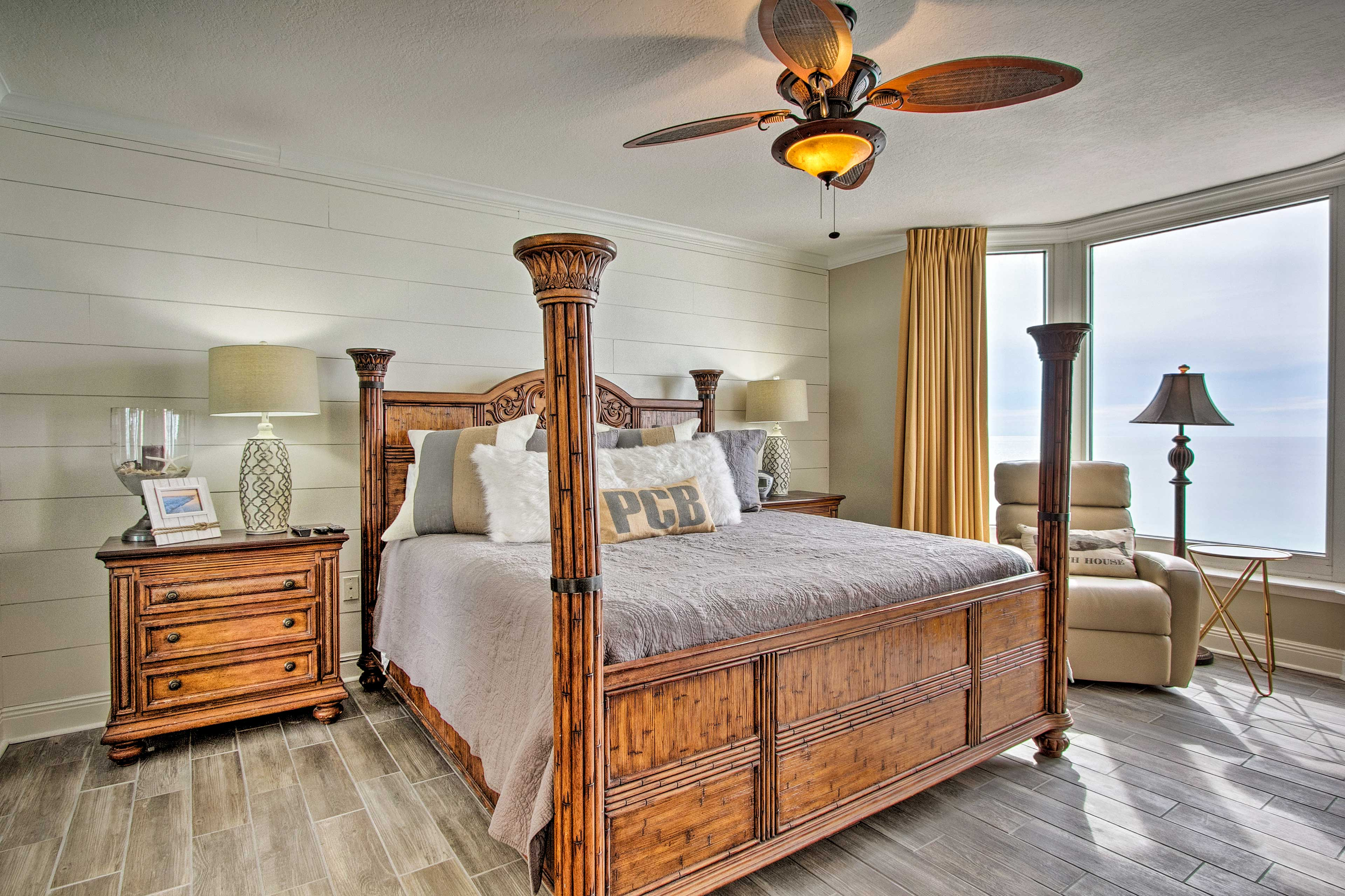 The master bedroom boasts wonderful views and a four-poster, king-sized bed.