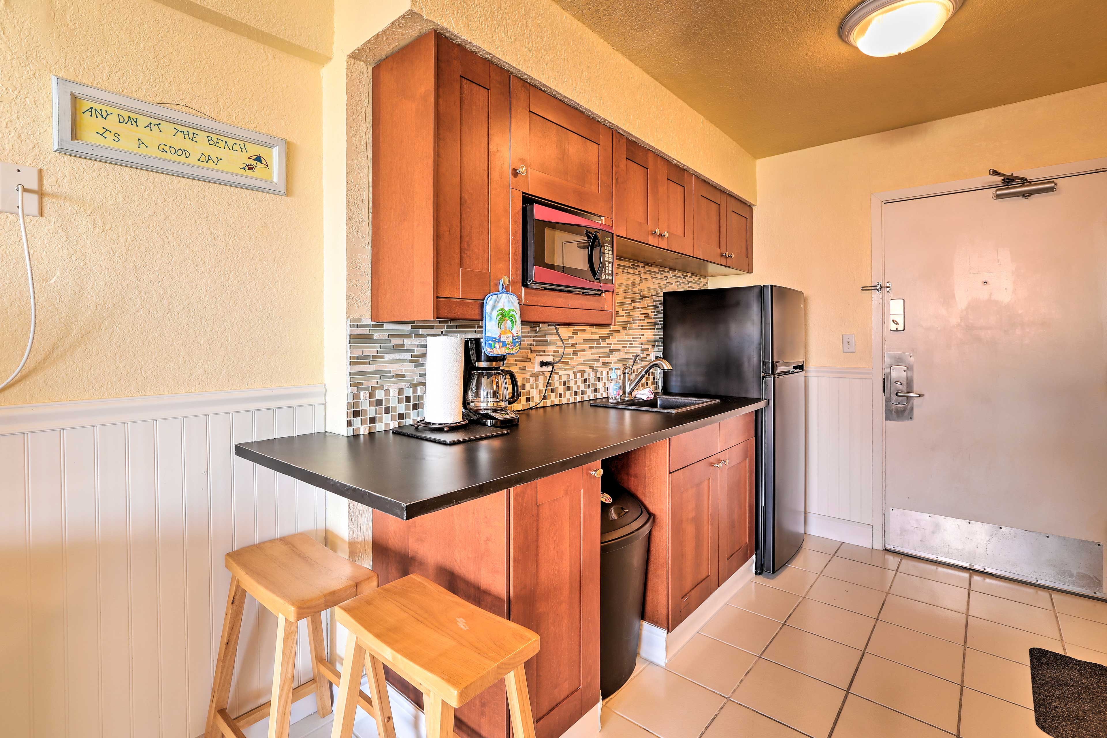 After a long day on the beach, whip up a snack in the well-equipped kitchenette.