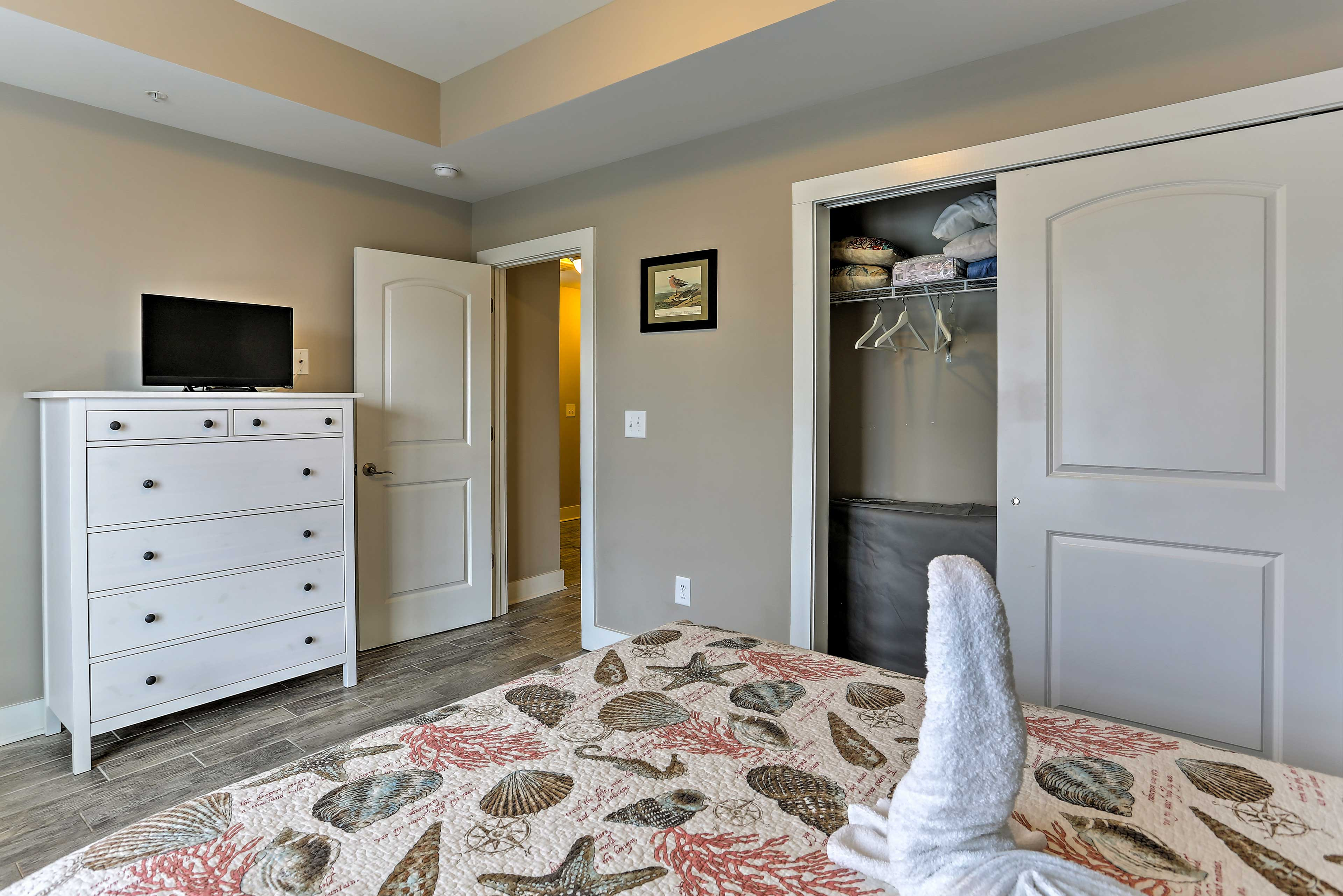 Store your belongings in the dresser or closet during your stay.