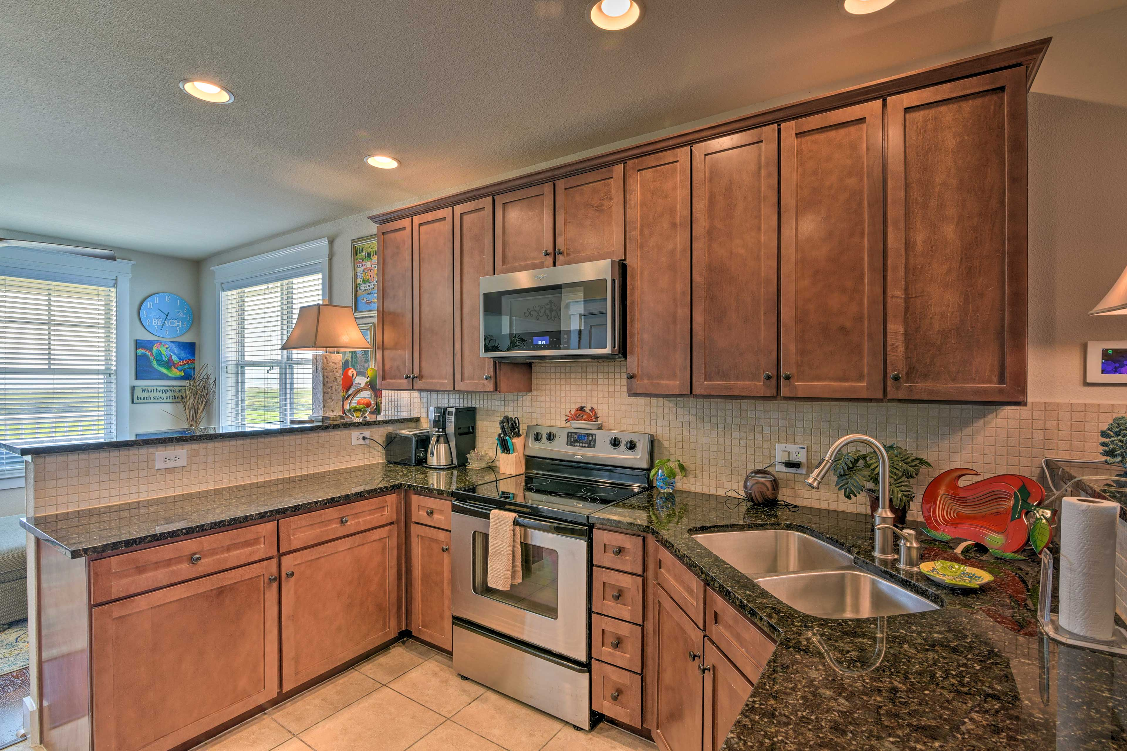 The fully equipped kitchen includes everything you'll need to prepare dinner.