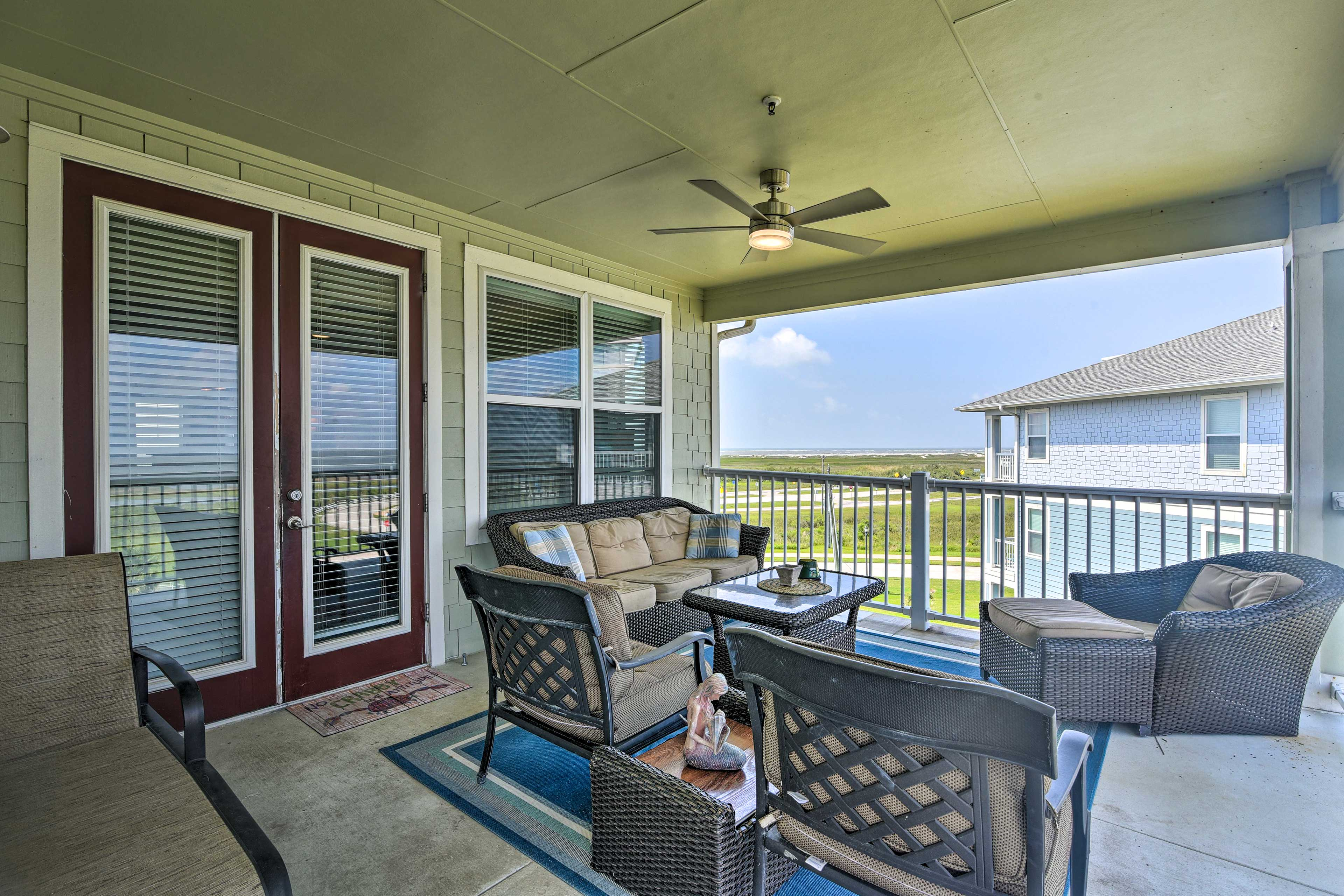 Sip your morning coffee or an evening nightcap on the balcony.
