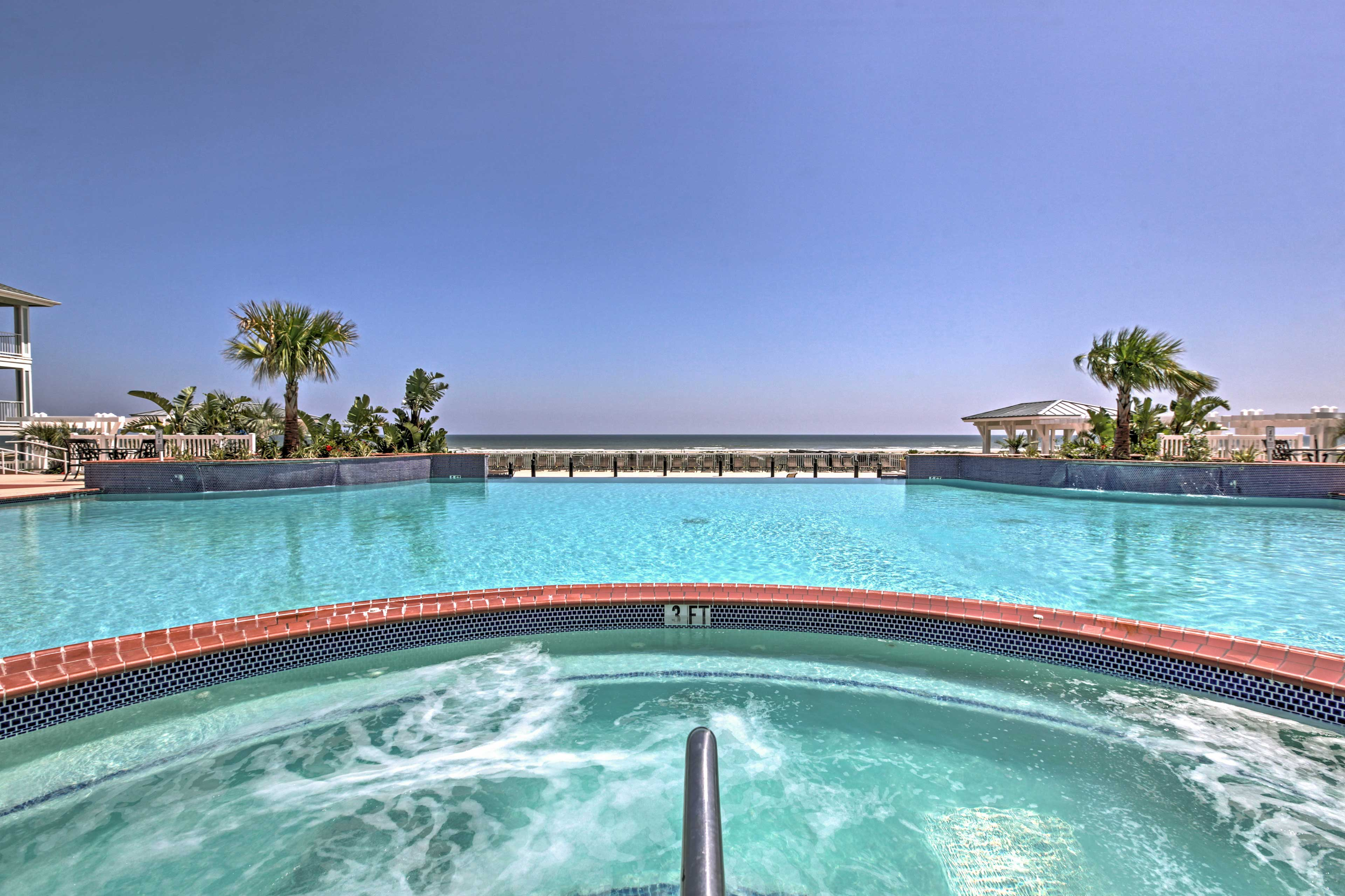 Ultimate relaxation awaits you by the pool and jacuzzi.