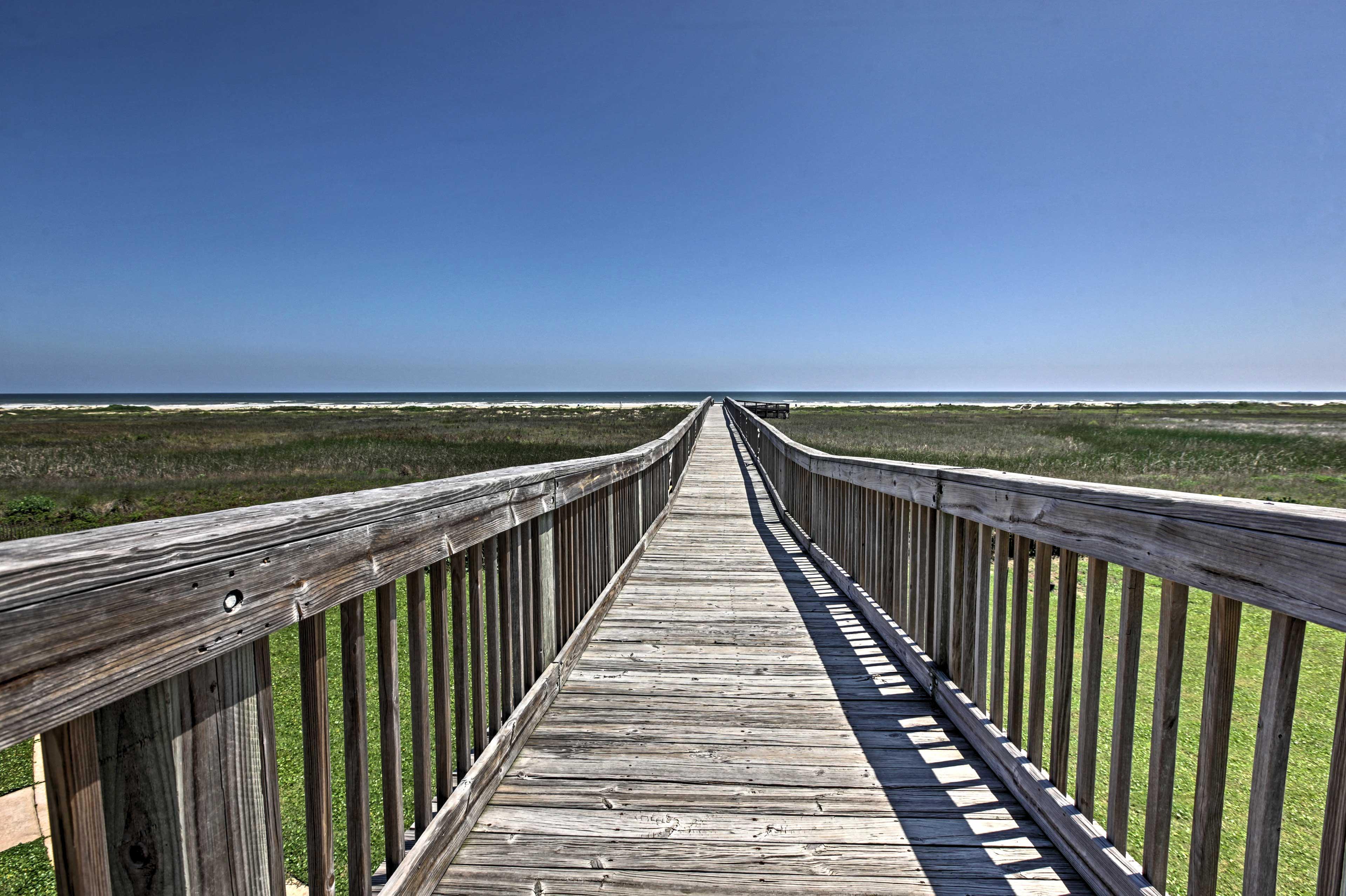 Stroll down the boardwalk to access the beach!