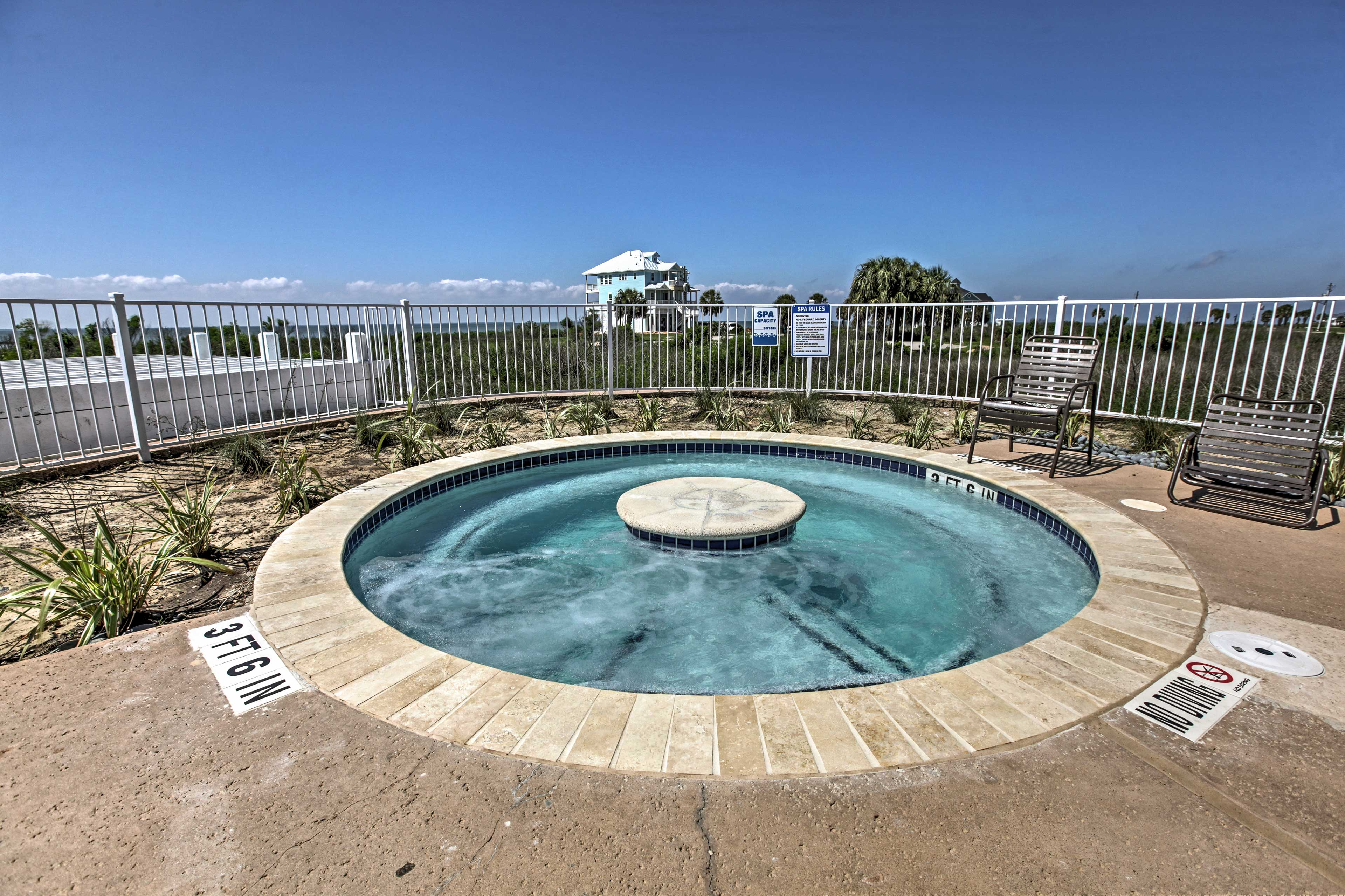 Melt your worries away in one of the hot tubs!