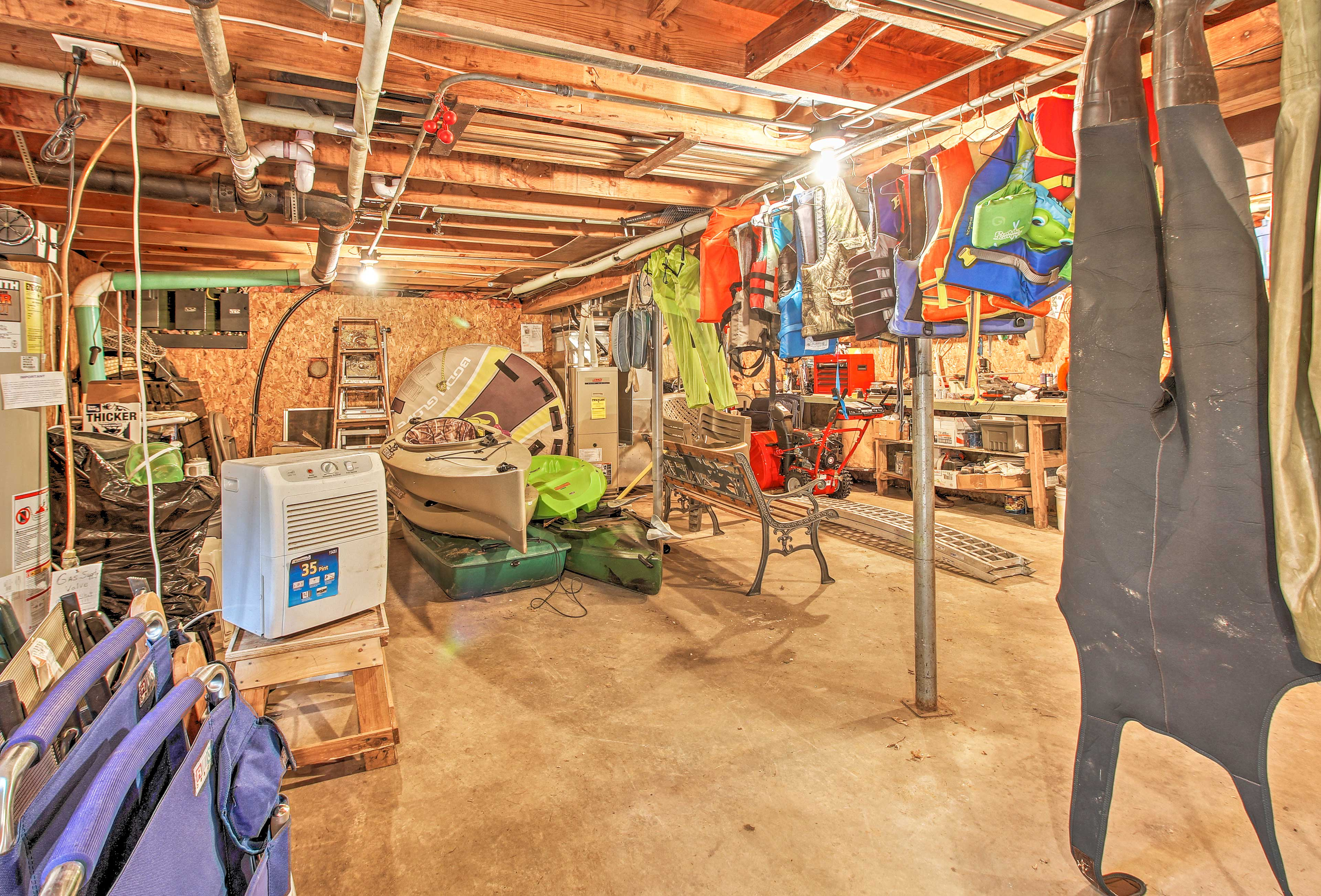 You'll have all the outdoor gear needed in the basement.