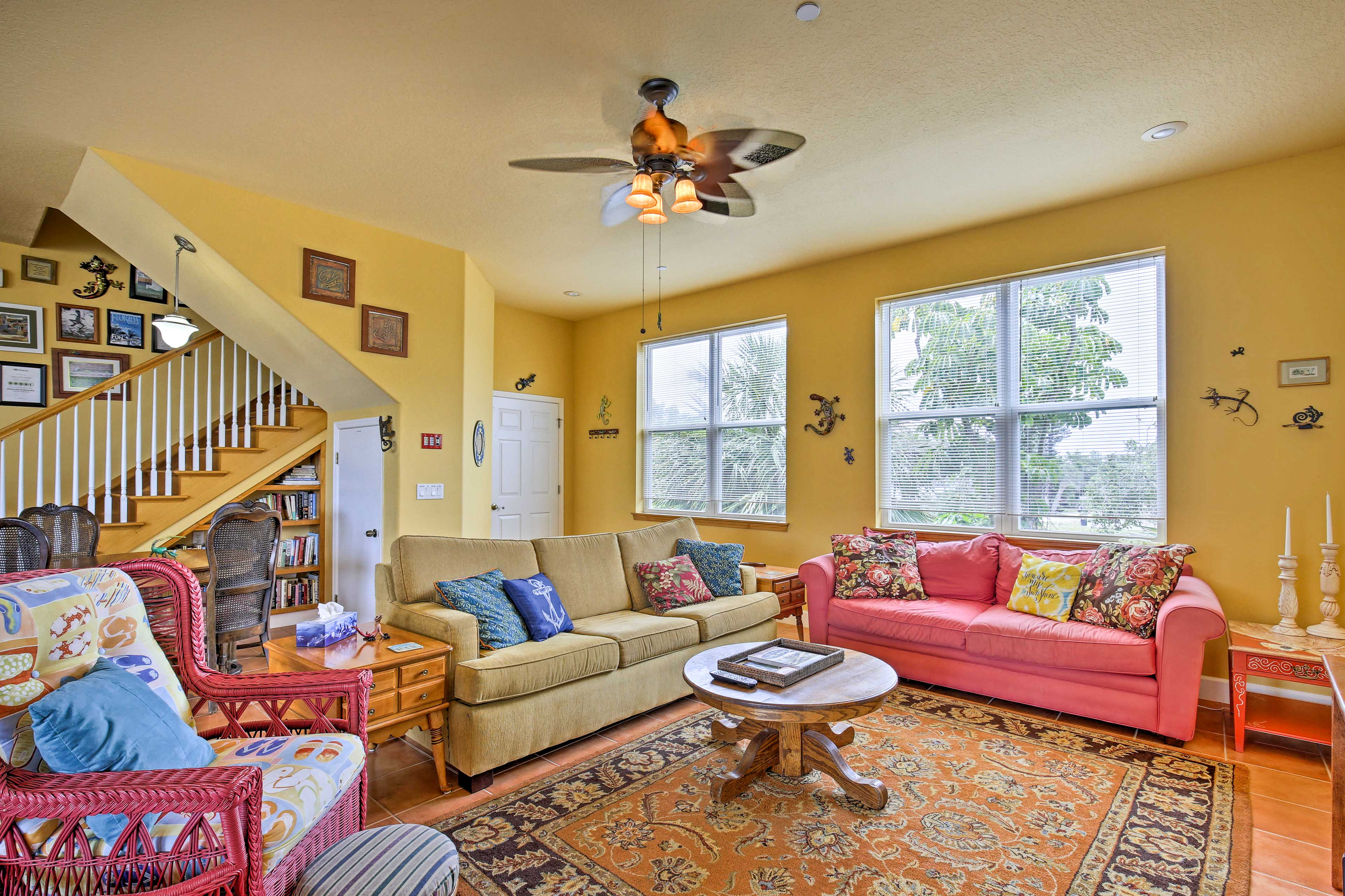 Large windows frame the great room and fill the space with Florida sunshine.