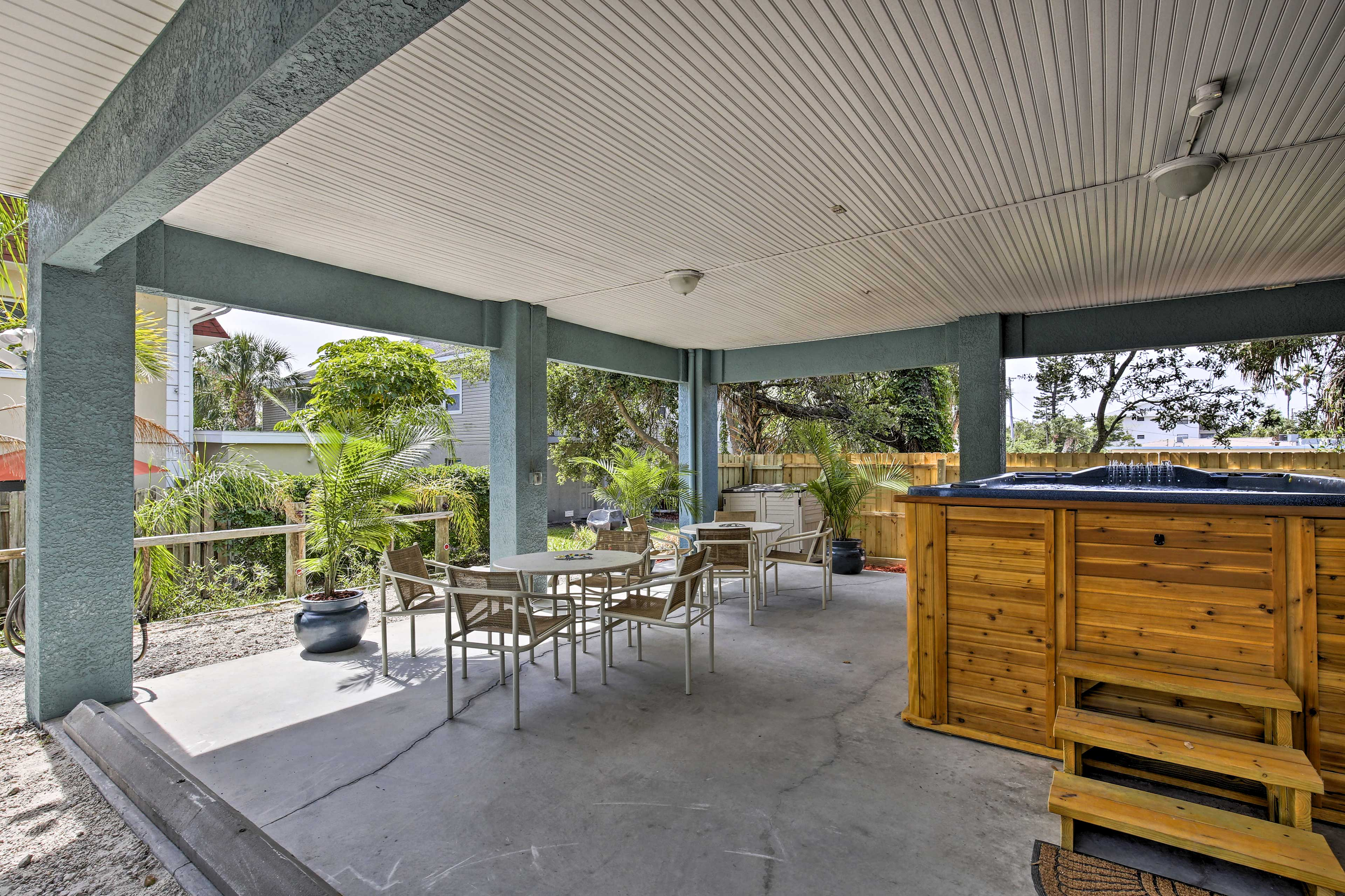 Relax on the shaded patio - shared with the other rental on-site.